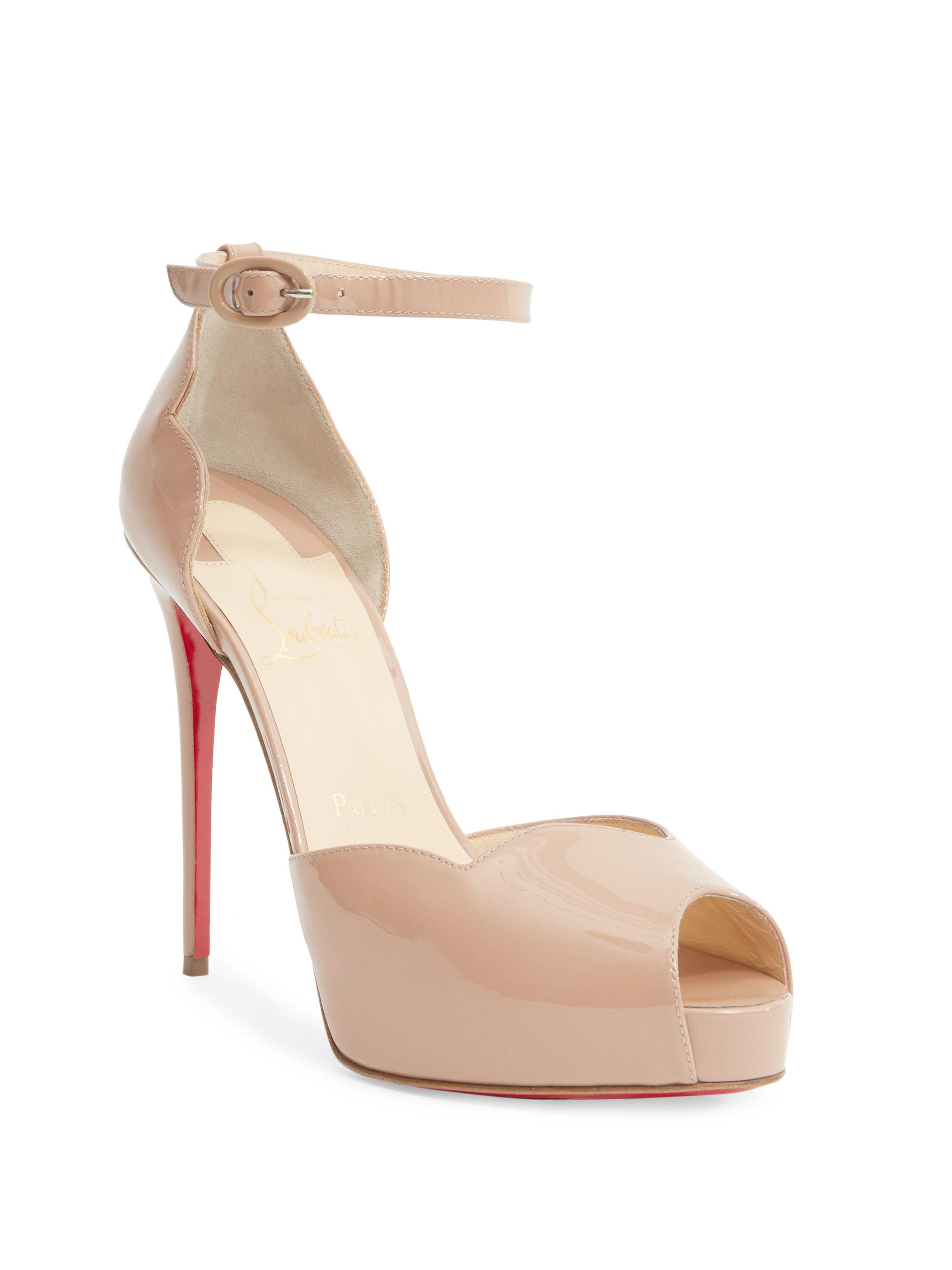 05969576f4d9 Christian Louboutin Aketata 120 Patent Leather Peep Toe Sandals in ...