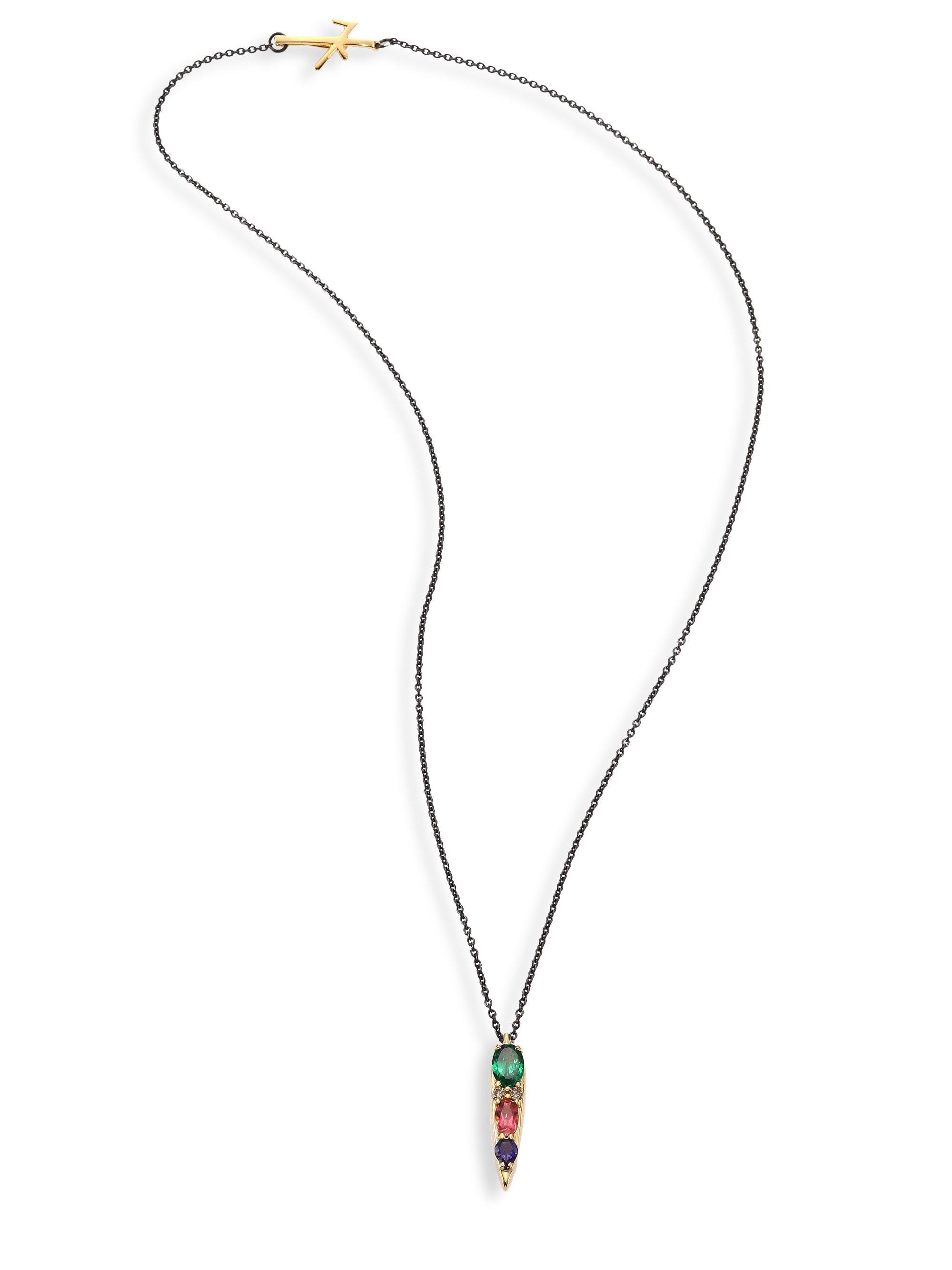 in pink gold maine tw with oval tourmaline necklace diamond white pendant