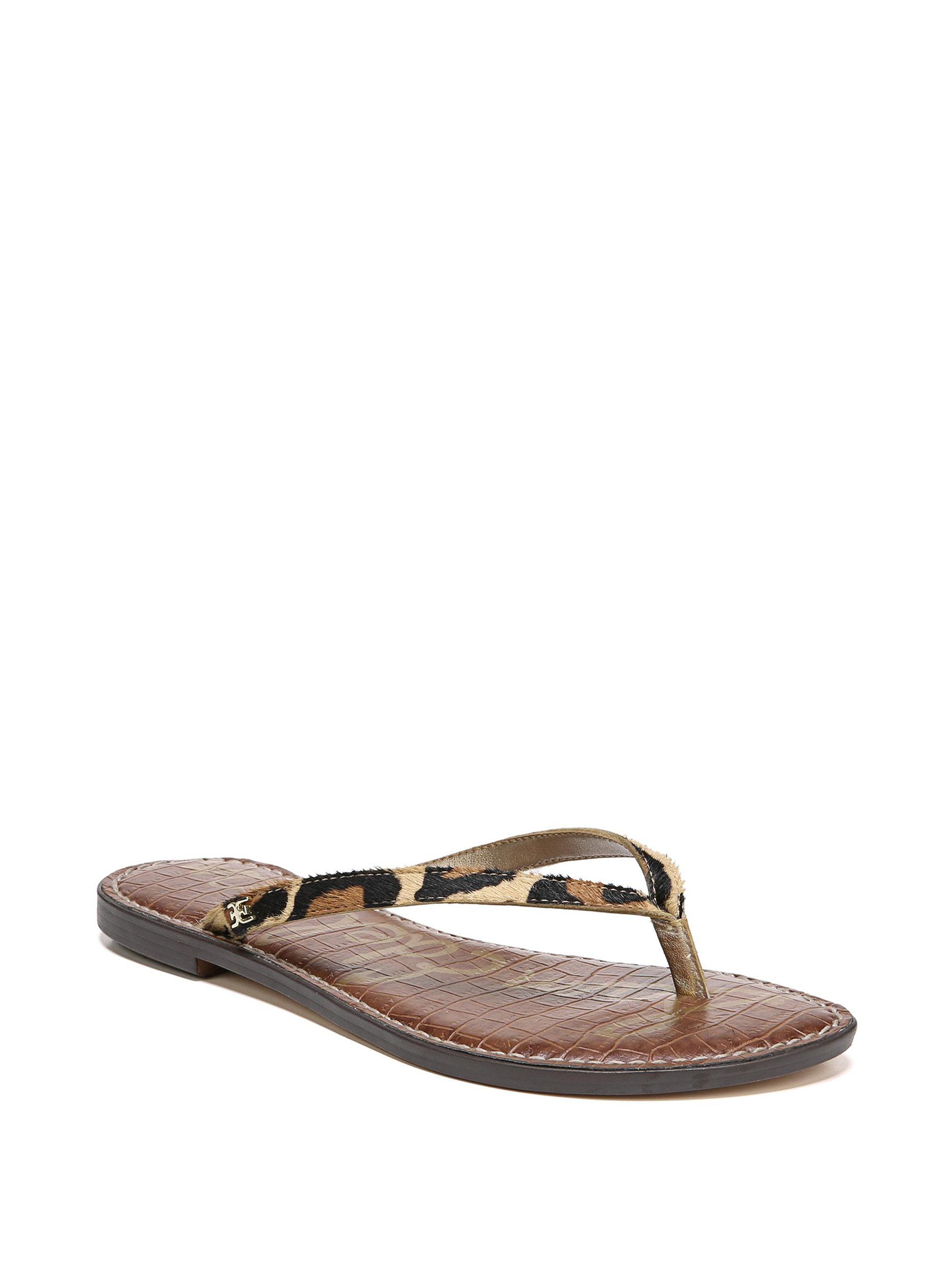 4bbdb26b85f4 Lyst - Sam Edelman Gracie Leopard Brahma Hair Thong Sandals in Brown