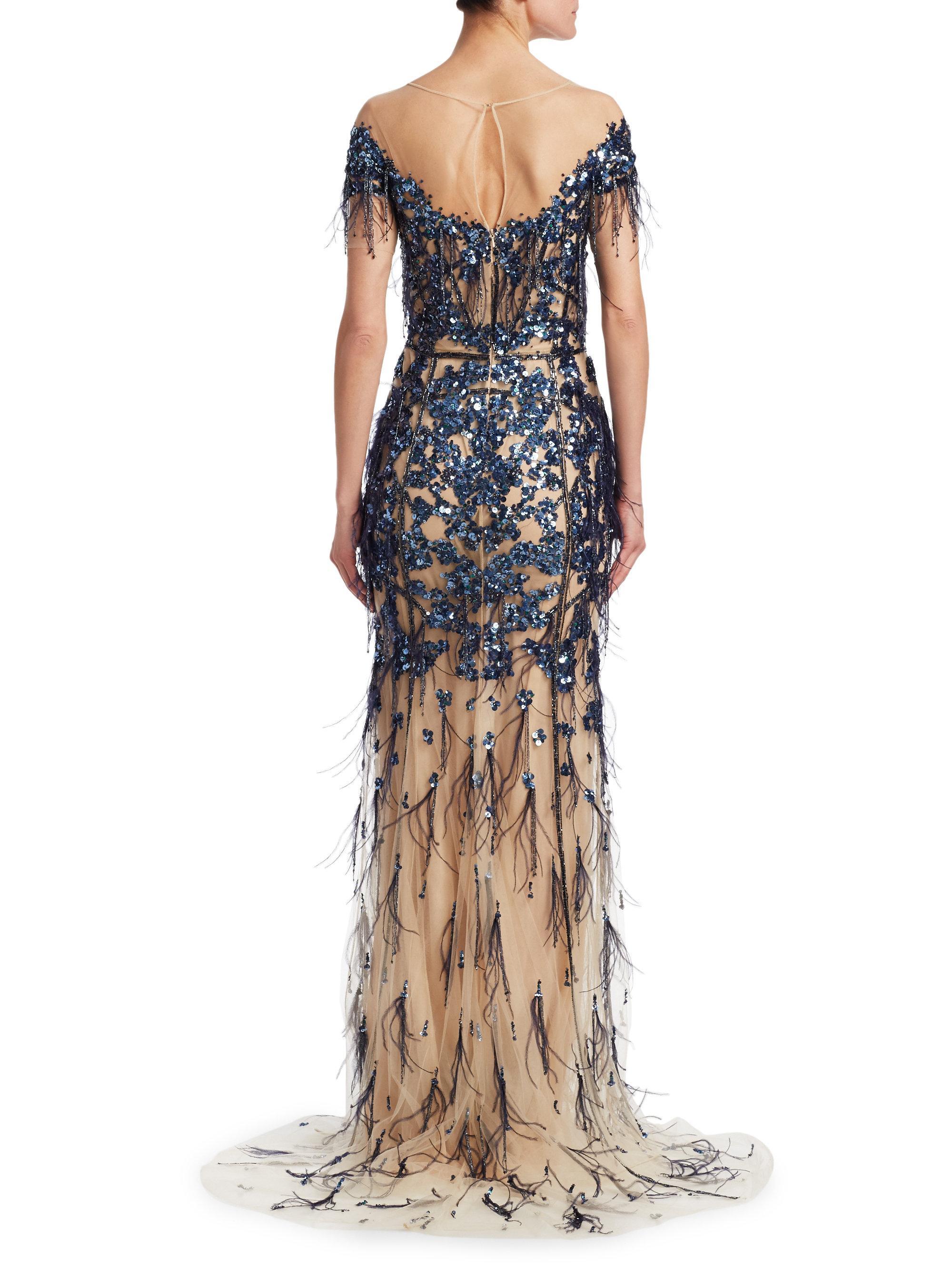 Lyst - Pamella Roland Sequin Off-the-shoulder Crystal-embellished ... ec0340e0b