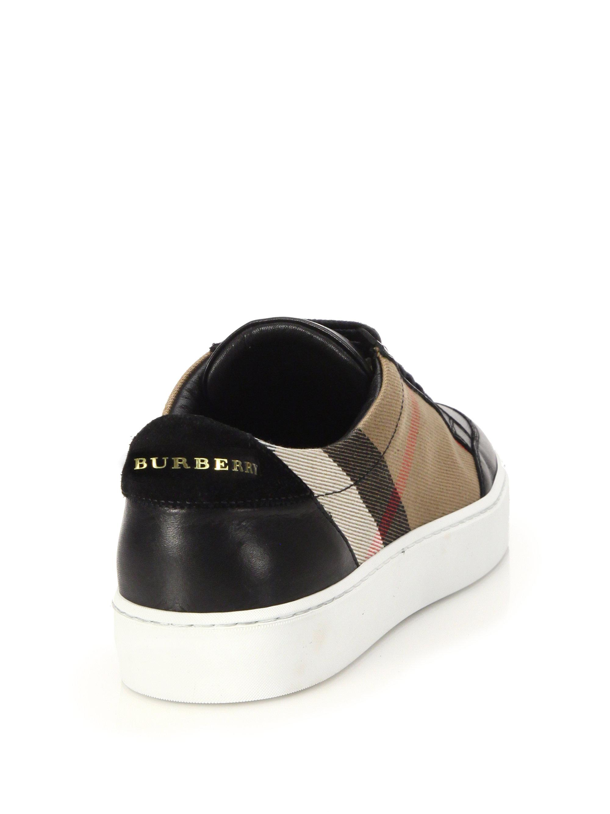 Burberry - Black Salmond House Check & Leather Sneakers for Men - Lyst.  View fullscreen