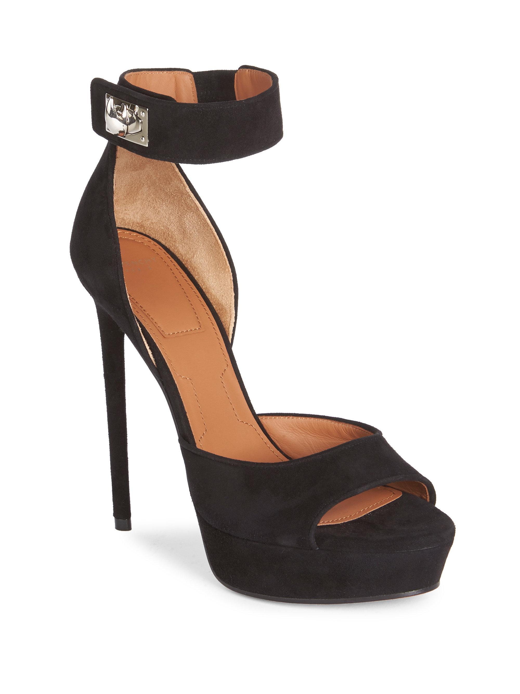 4e5c99b227f4 Lyst - Givenchy Suede Shark-lock Platform Sandals in Black