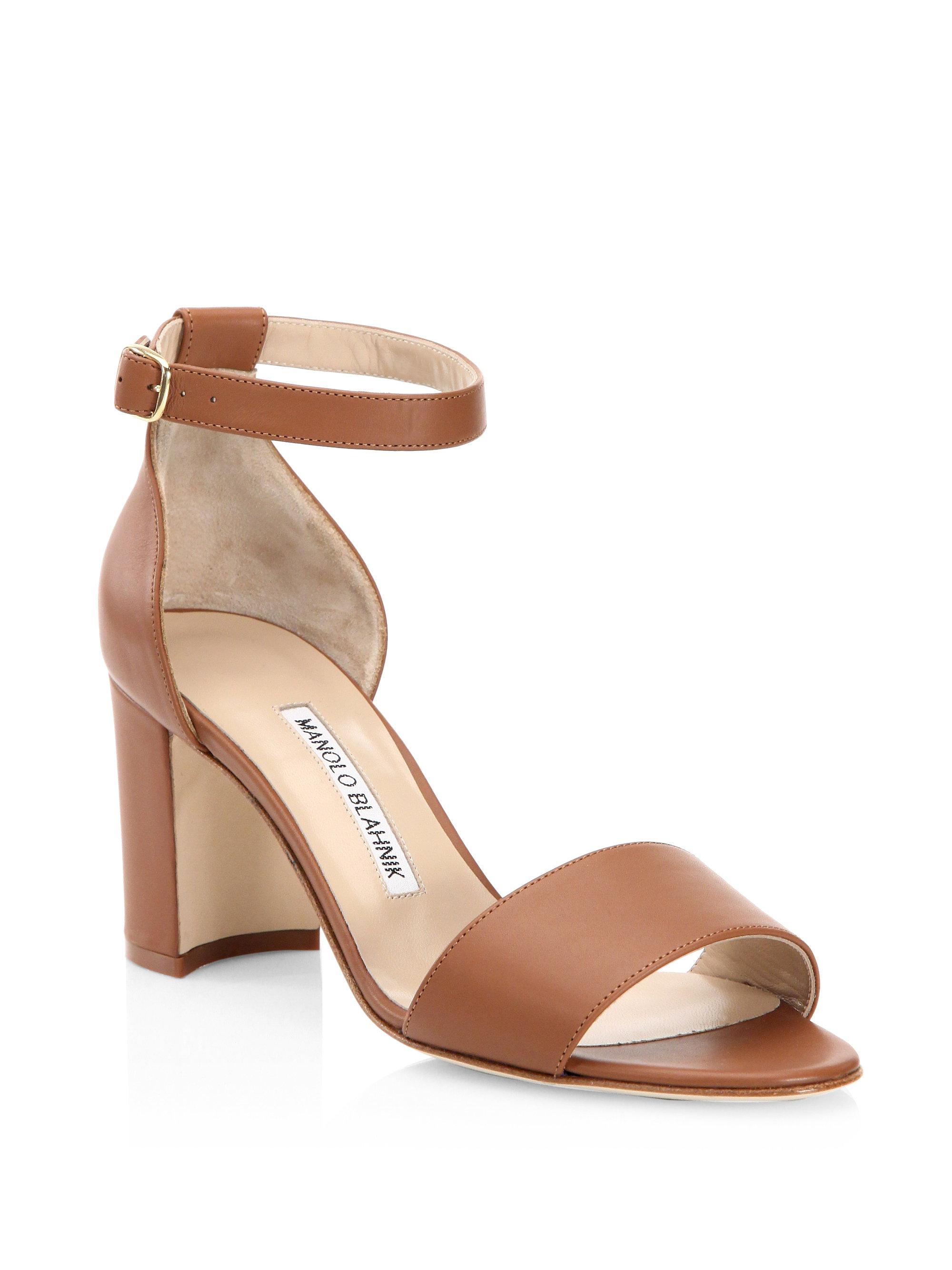 7d1beeefa3d9 Manolo Blahnik Lauratomod Leather Sandals in Brown - Lyst