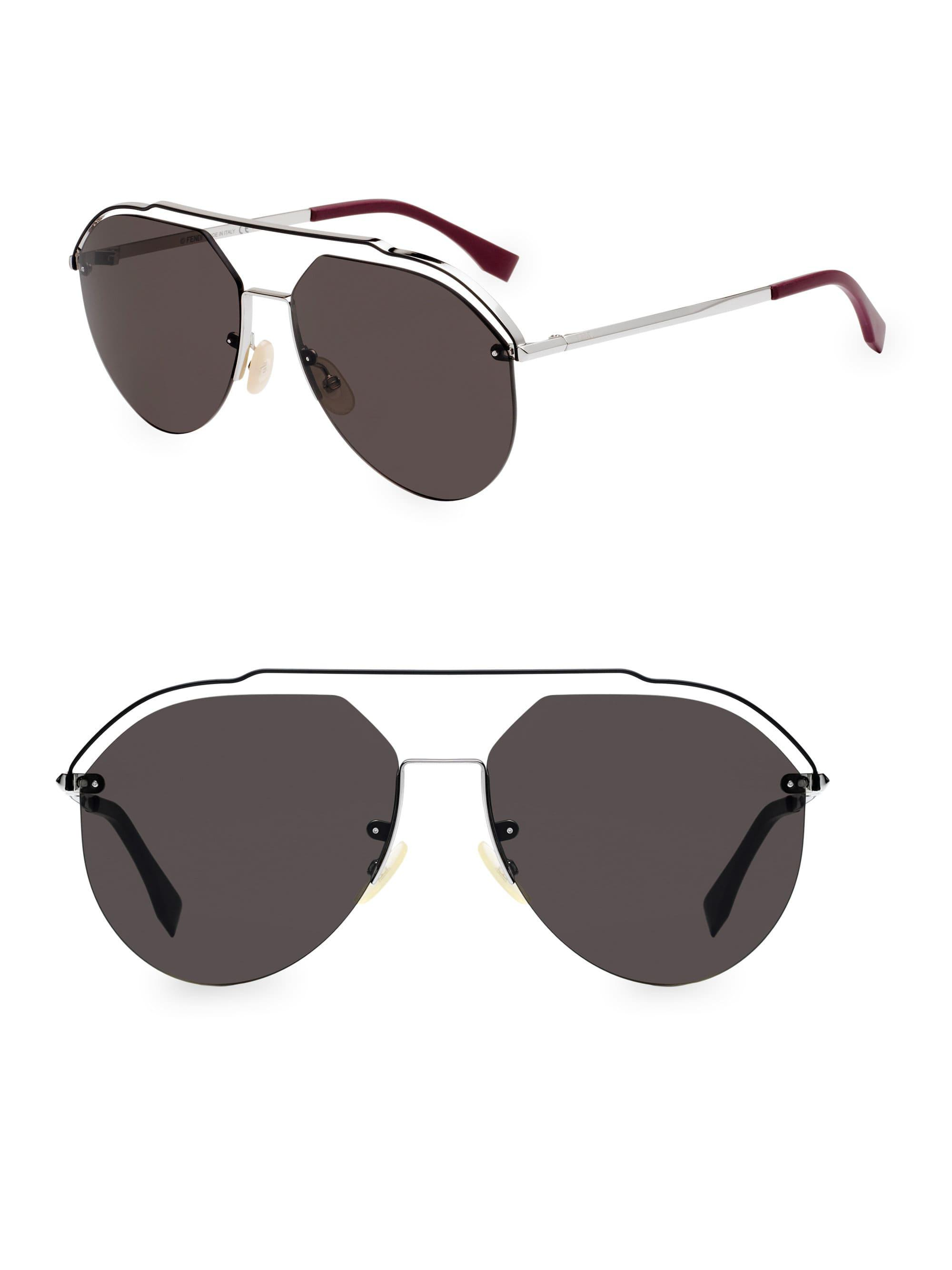 6addb35725c Fendi 61mm Metal Aviator Sunglasses for Men - Lyst