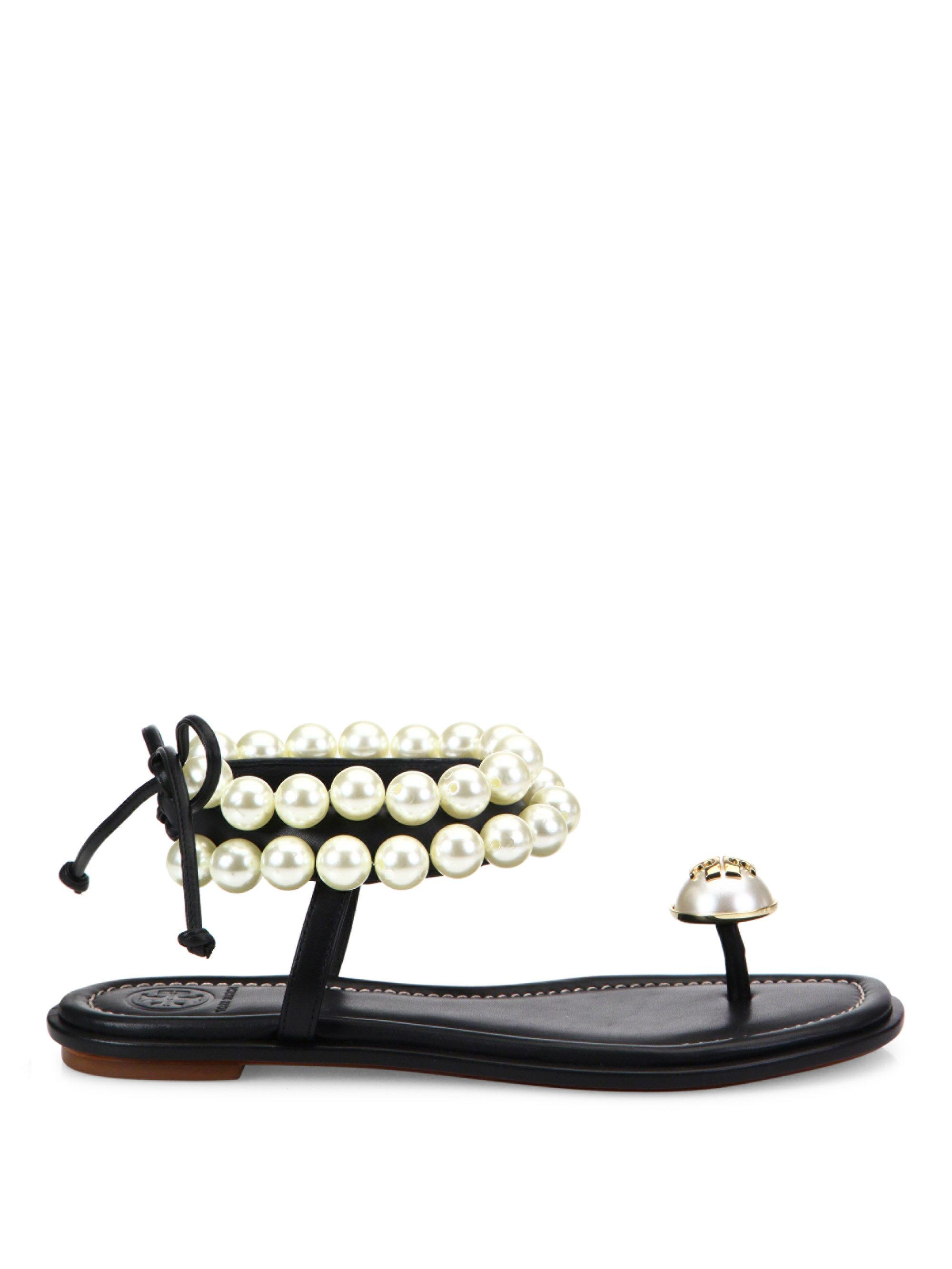 5aa2a4062449 Lyst - Tory Burch Melody Pearly Ankle-wrap Flat Sandal in Black
