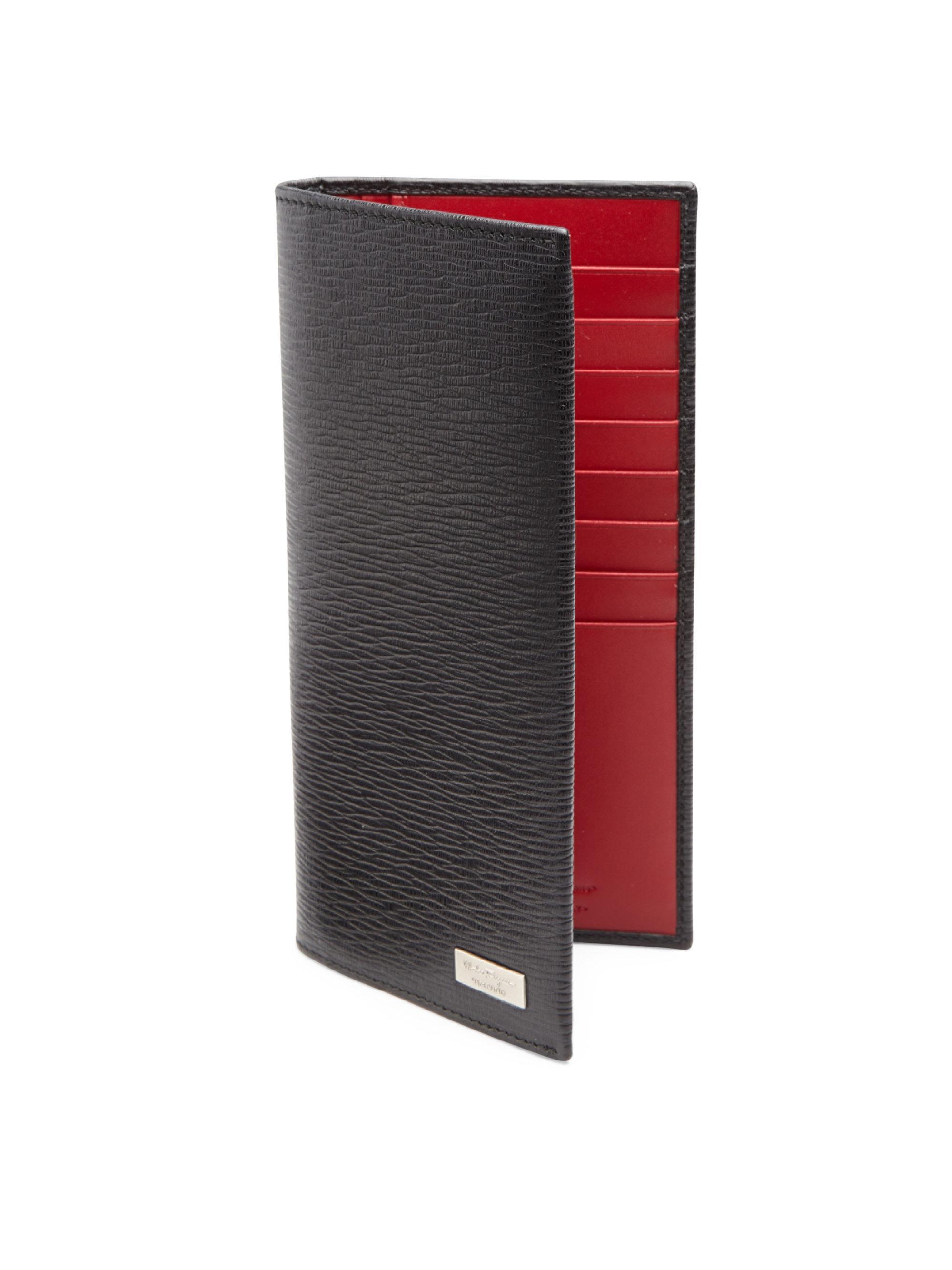 70075d96fd70 Ferragamo Embossed Leather Breast Pocket Wallet in Black for Men - Lyst