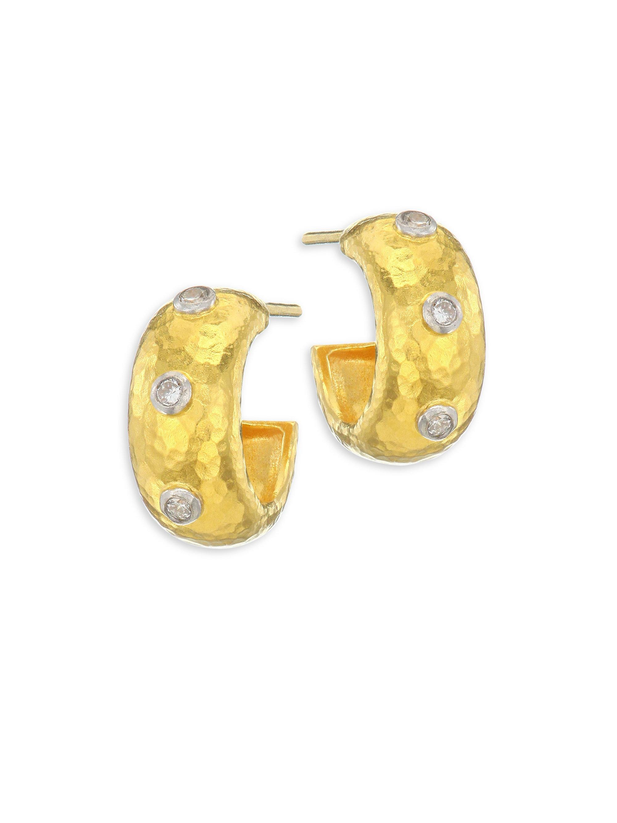 earrings white views wide hoop more and reversible huggie yellow gold