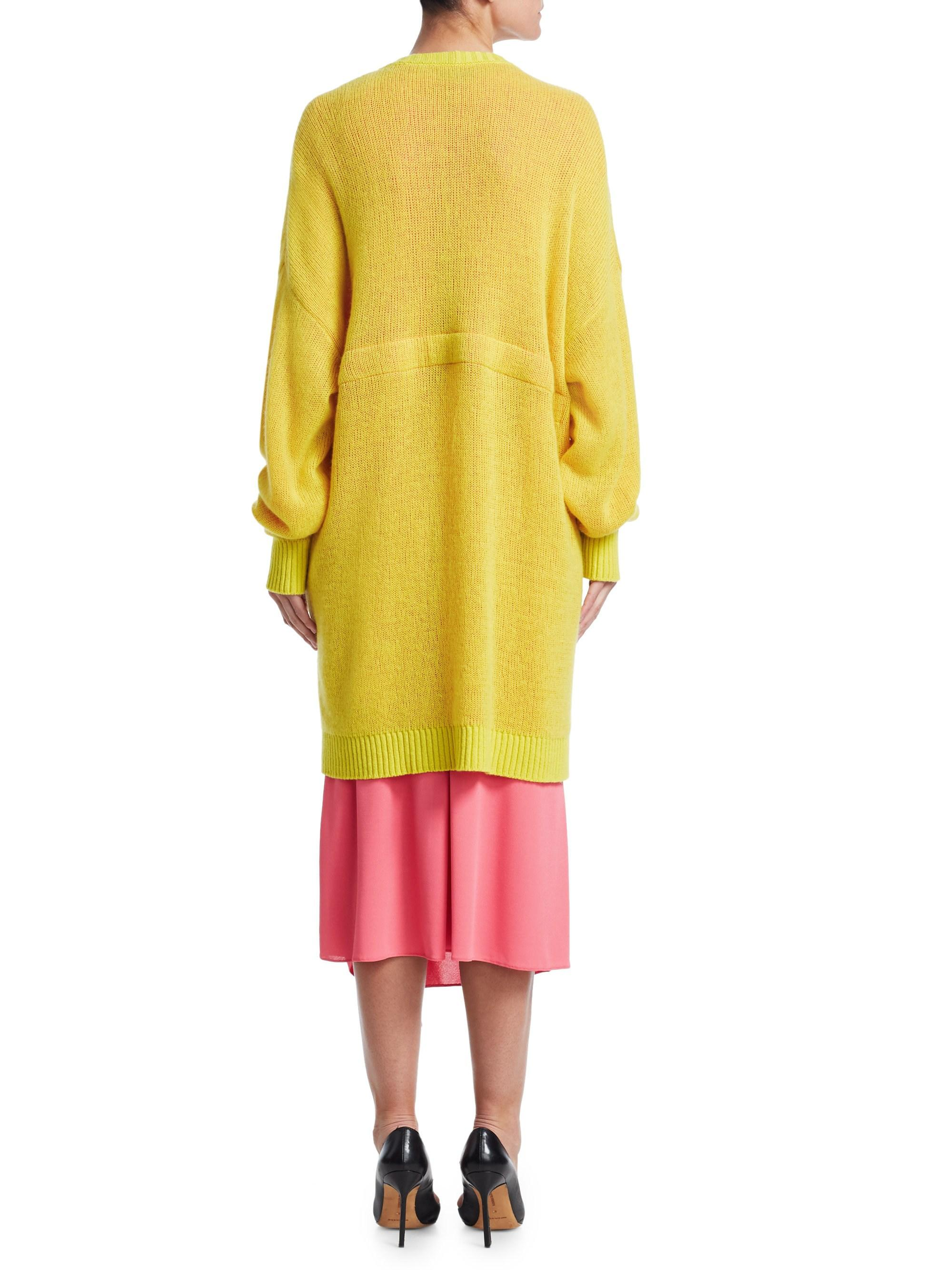 5e7f09b041 Tre by Natalie Ratabesi - Women s Miki Open Front Sweater - Pink Acid Yellow  - Size. View fullscreen