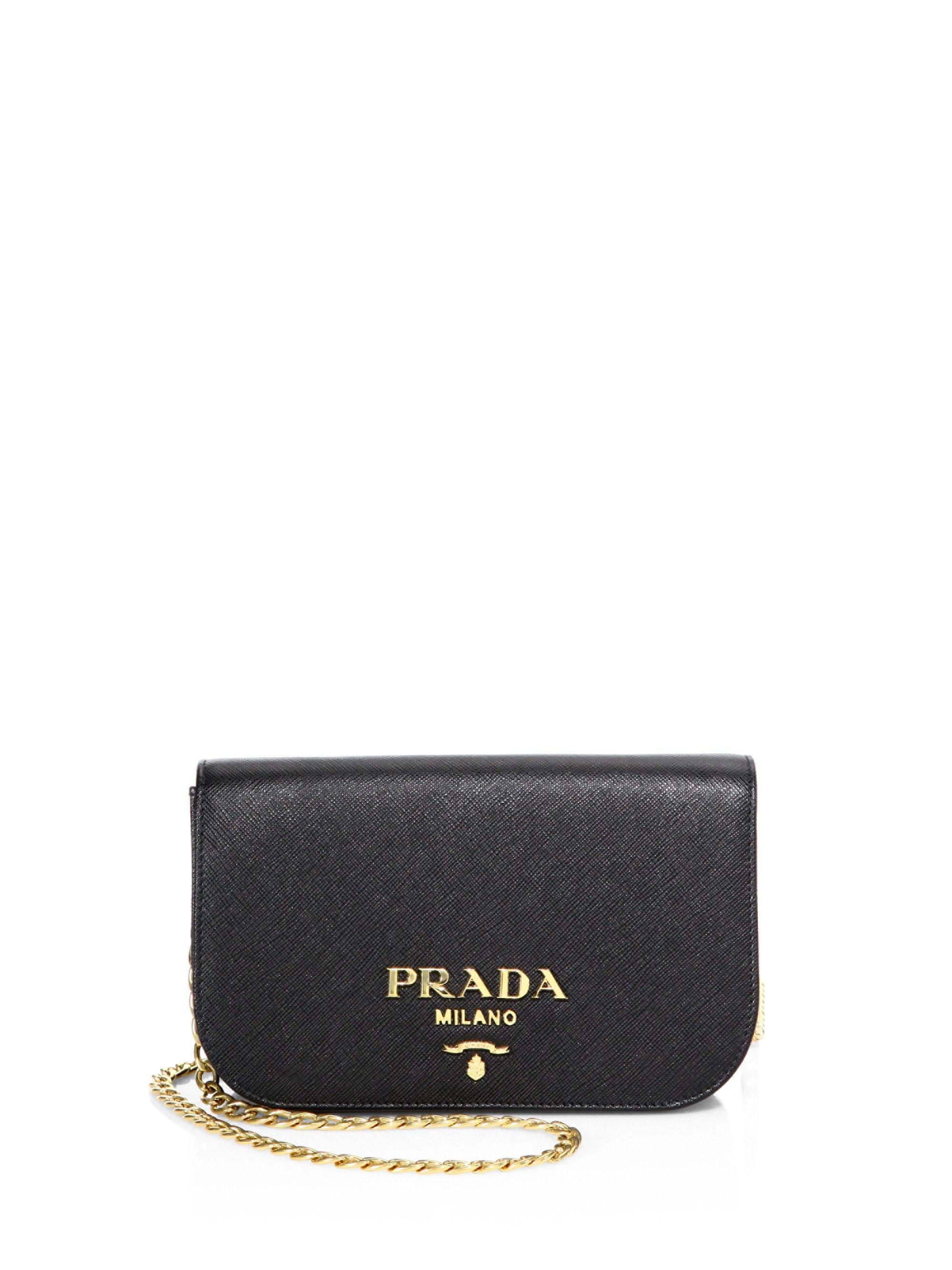 758ced88cf9121 Prada - Black Bandoliera Leather Chain Clutch - Lyst. View fullscreen