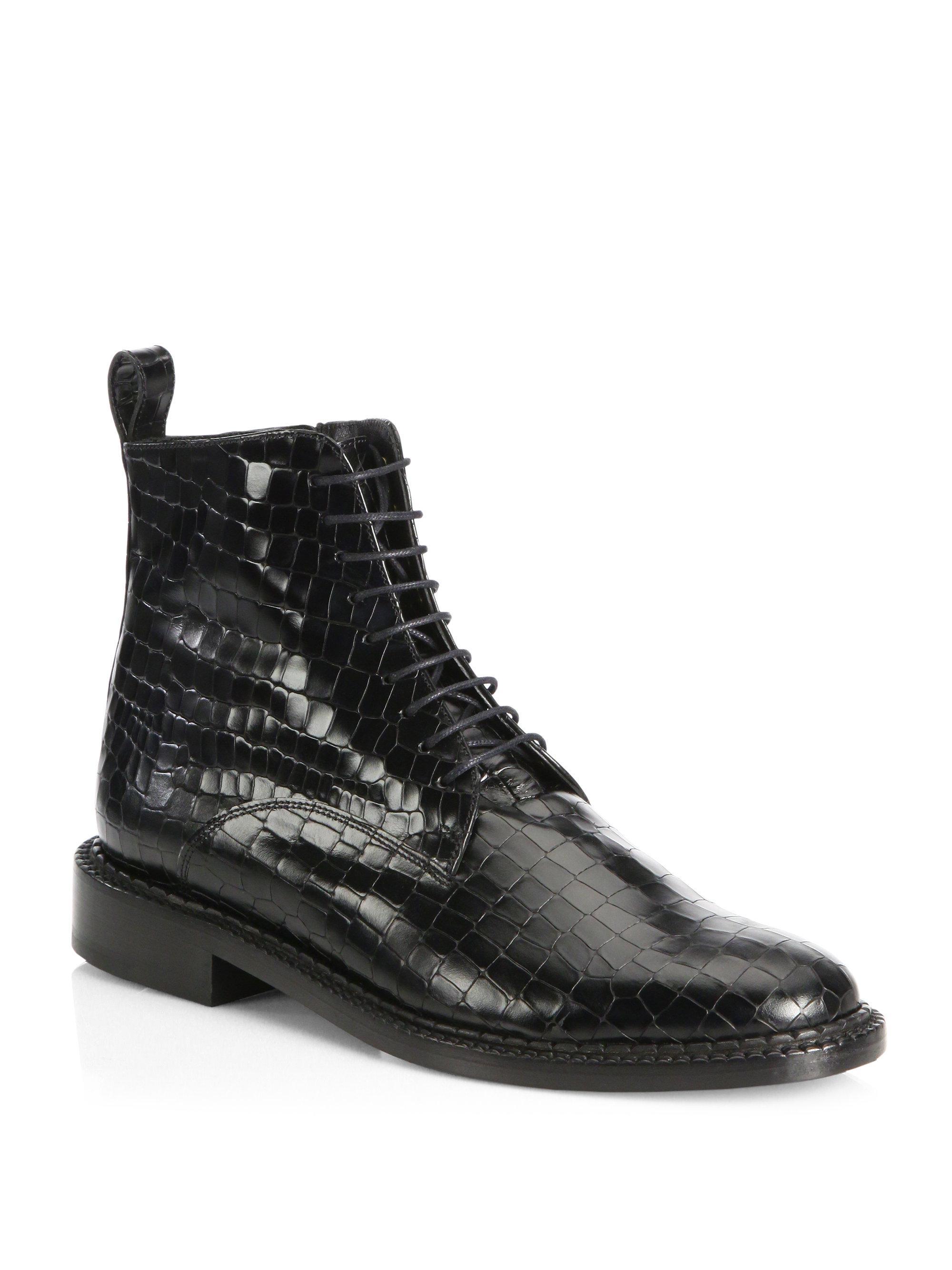 b356f7c6acae7 Robert Clergerie Jacen Leather Combat Boots in Black - Lyst