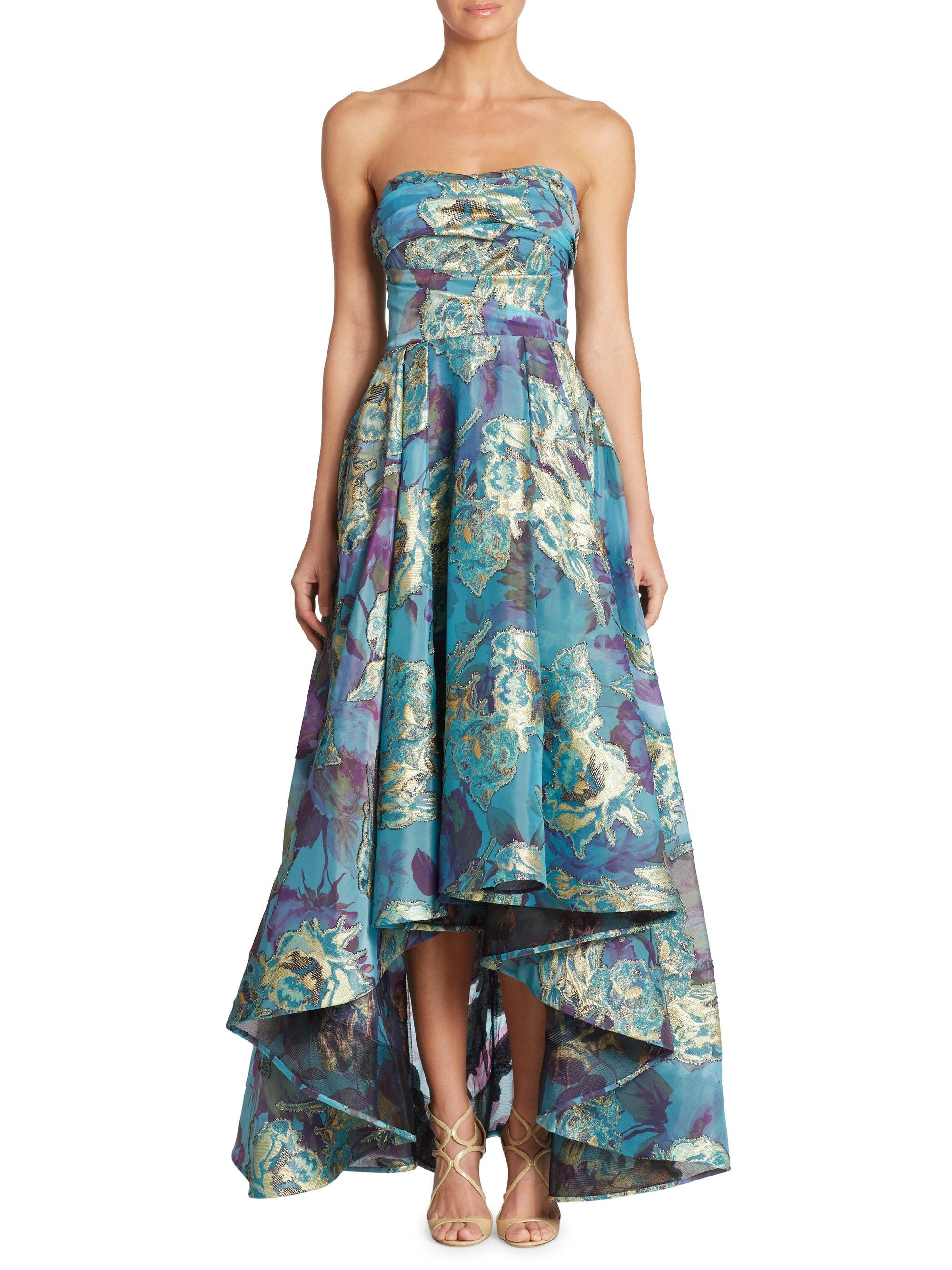 Lyst - Notte By Marchesa Strapless Fil Coupe Hi-lo Gown in Blue