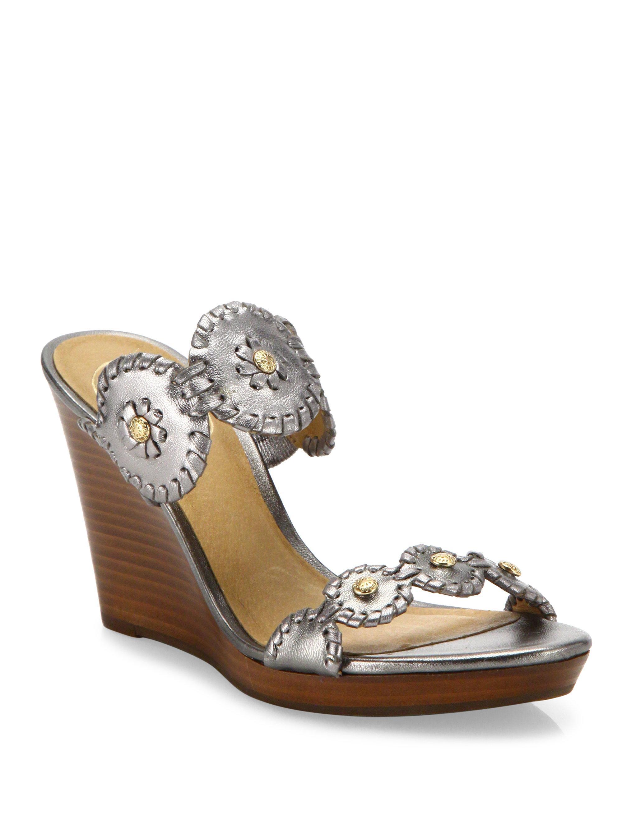 Jack Rogers Jr Layne Whipstitch Metallic Leather Wedge Sandals KlFEh33M7