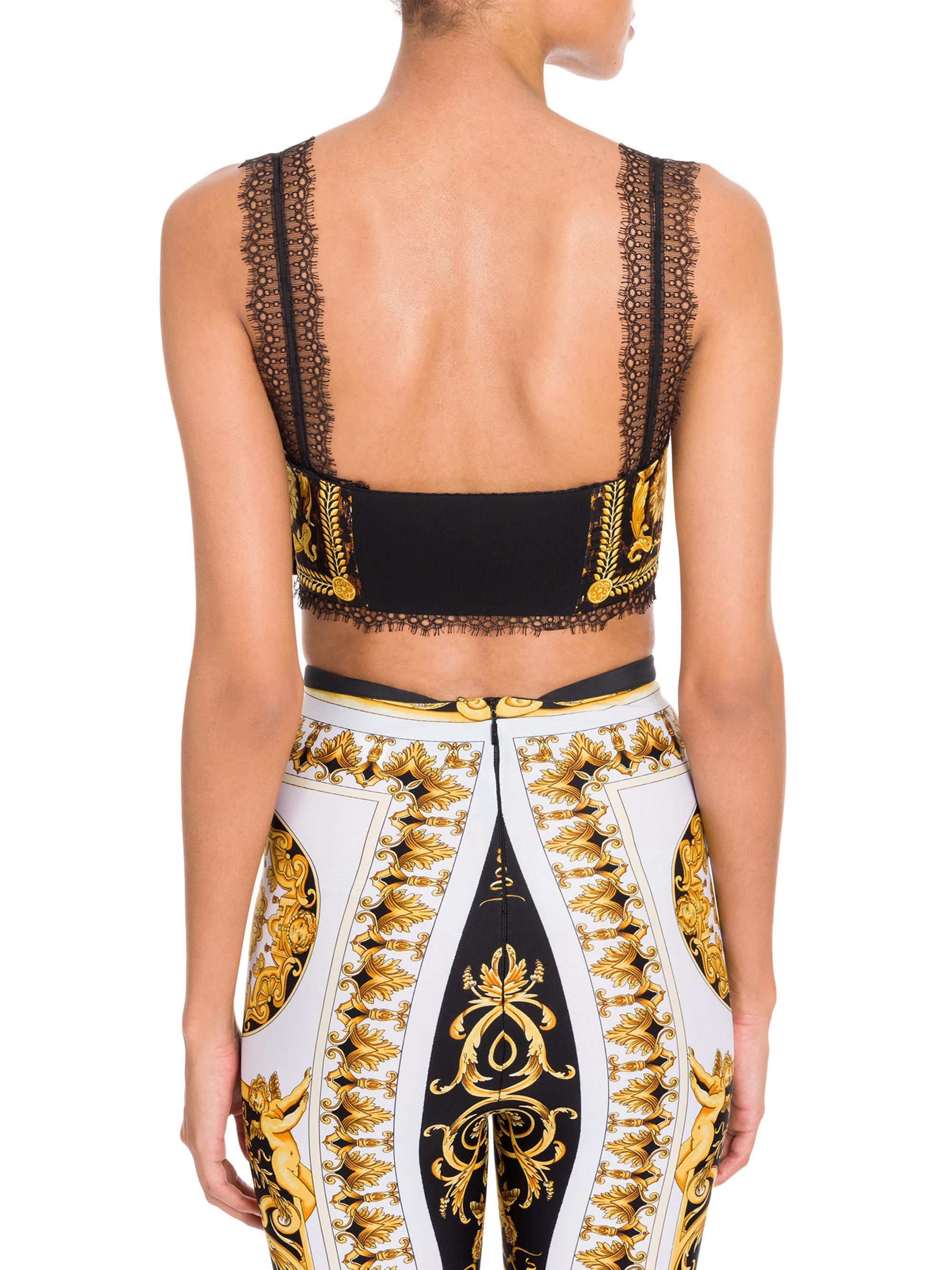 de4aa95b89a86 Versace Lace Trimmed Silk Bra Top in Black - Lyst