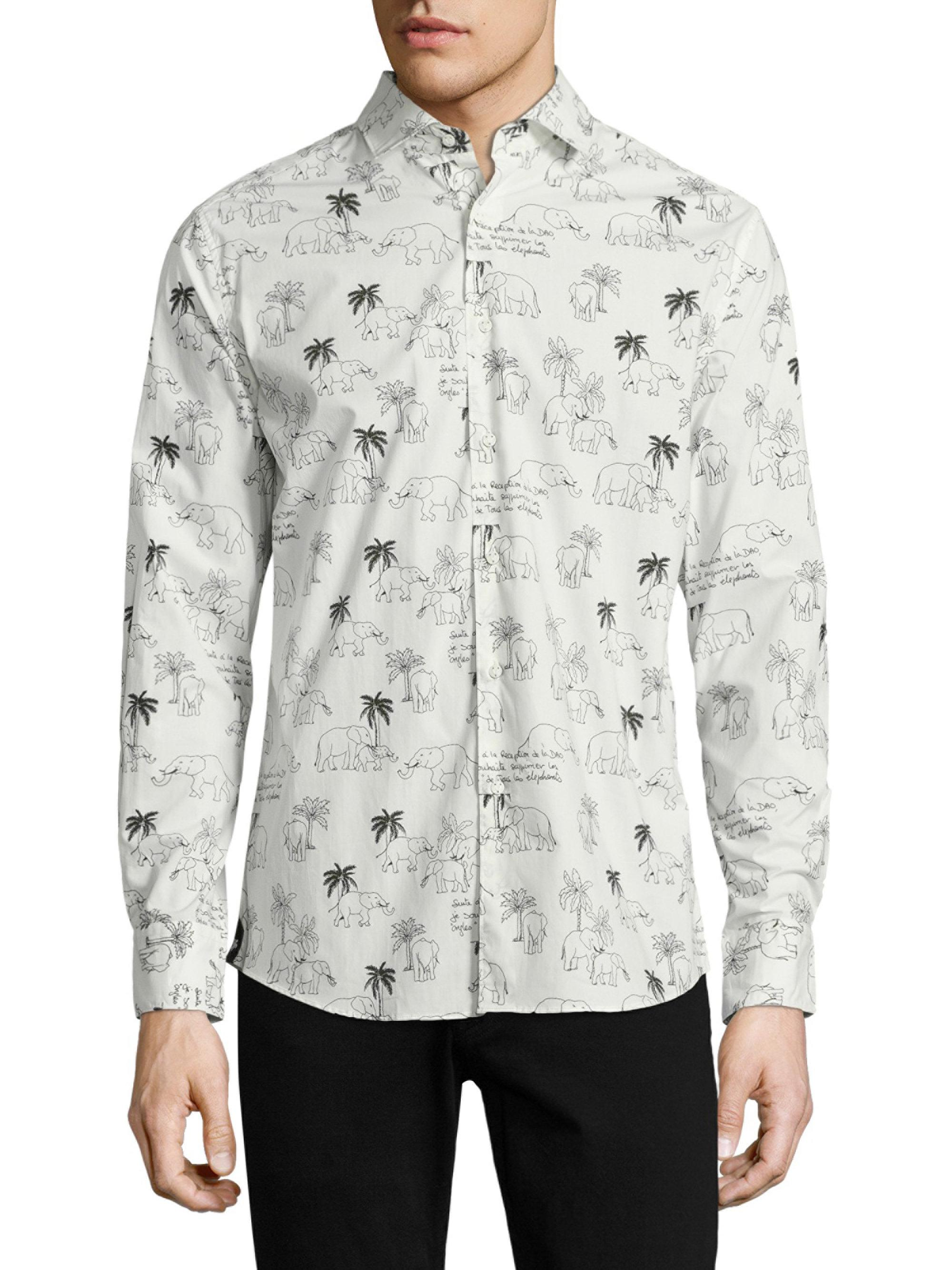 11404fd651c065 Lyst - Vilebrequin Elephant-print Cotton Shirt in White for Men