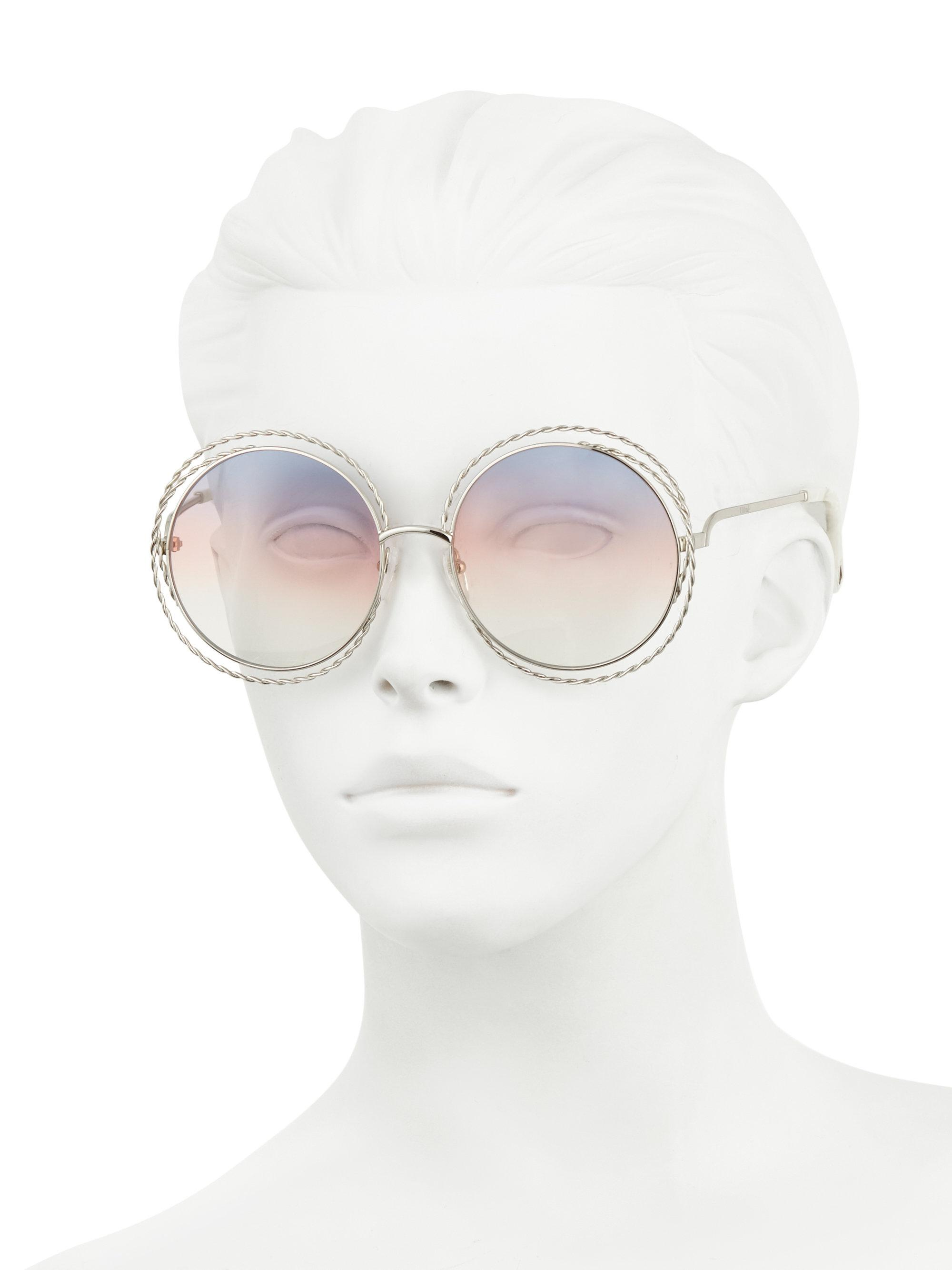 e75bcd111f8 Lyst - Chloé 62mm Carlina Round Wire Metal Sunglasses in Yellow
