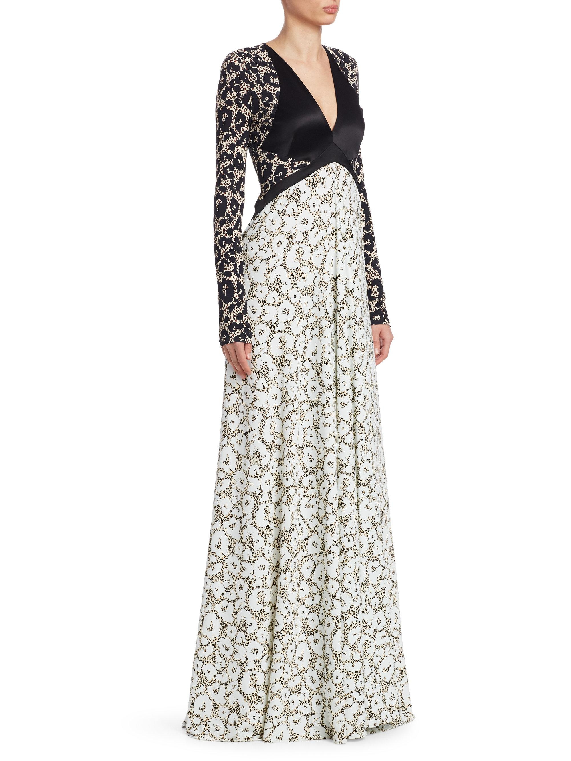 Lyst - Roberto Cavalli Leopard Print Panelled Gown