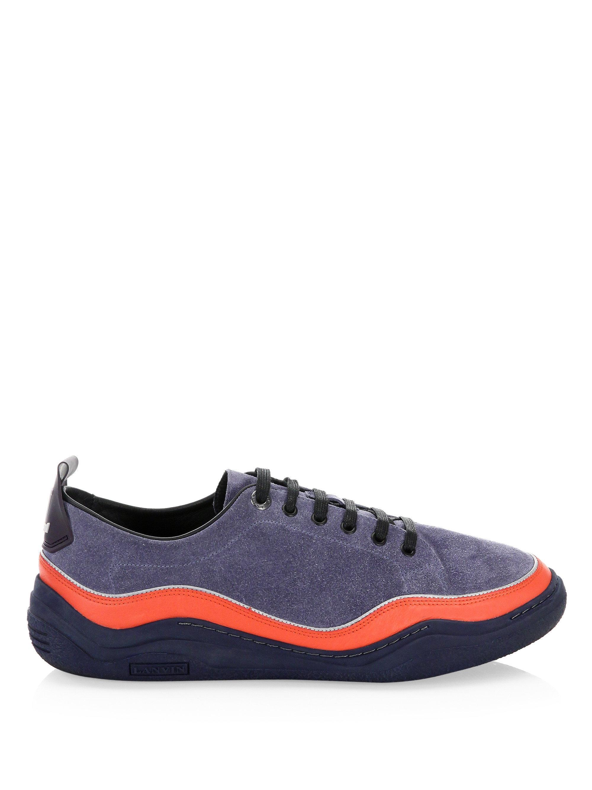 LanvinSuede Split Low-Top Sneakers RmO5tUY6JO