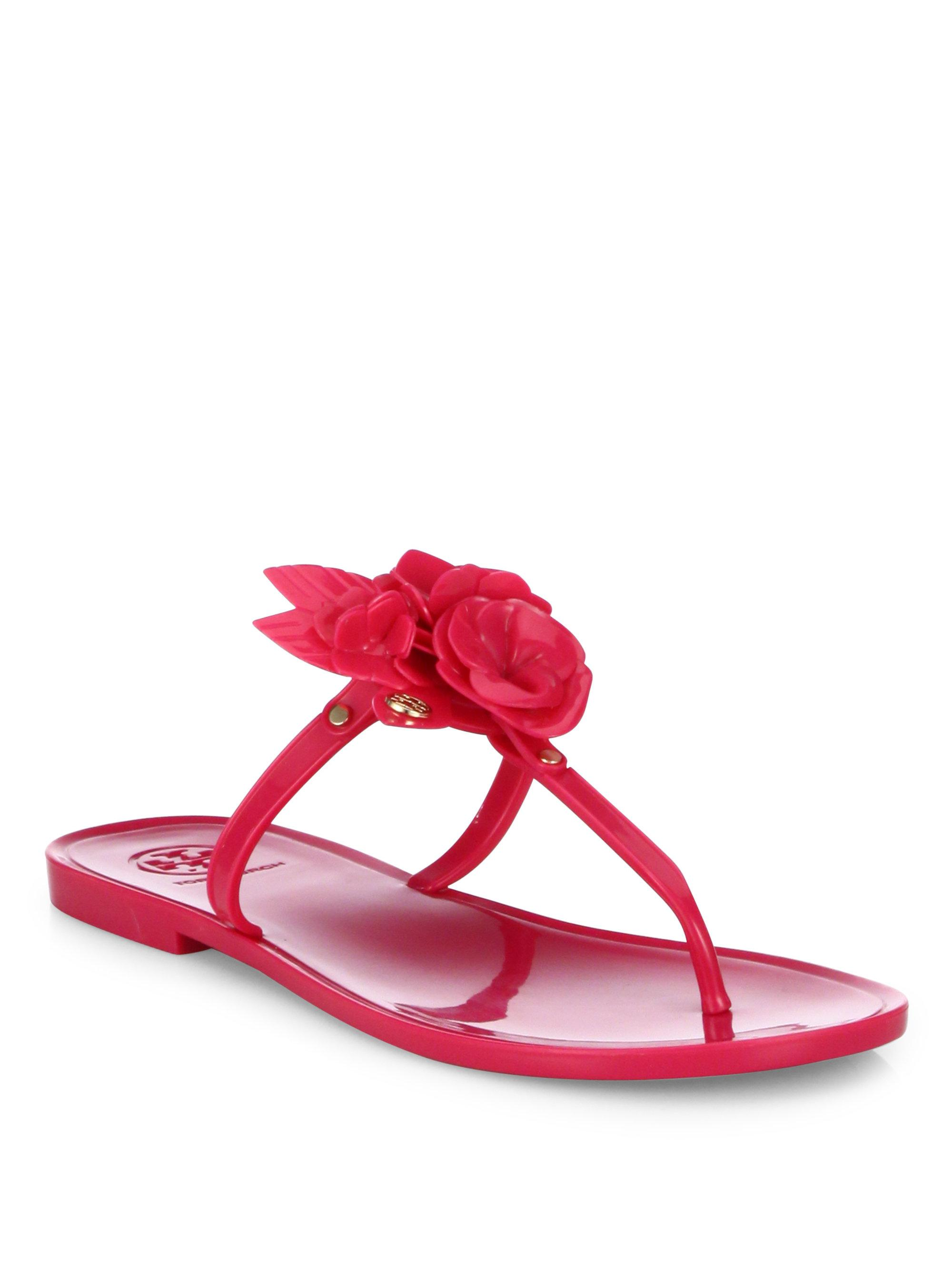 23ccbf36876e Lyst - Tory Burch Blossom Jelly Thong Sandals in Pink