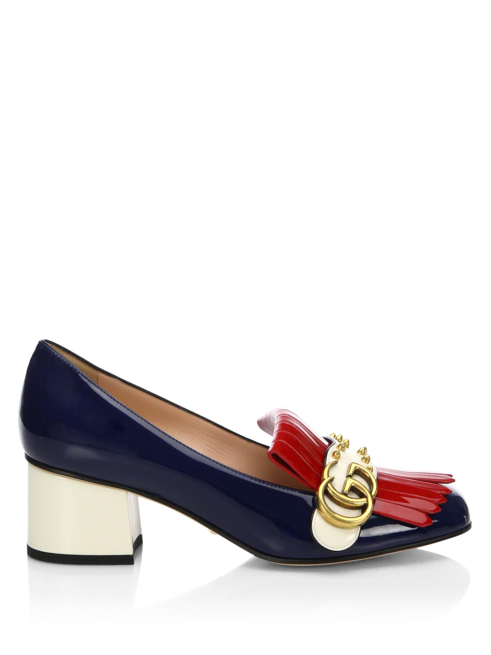 69303c20445 Gucci Marmont Gg Studded Tri-tone Patent Leather Loafer Pumps in ...