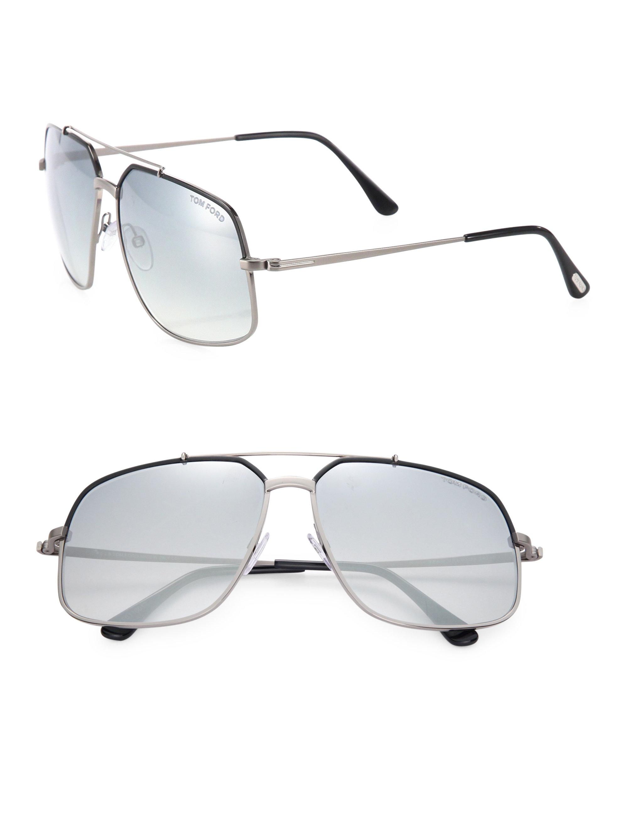 60mm For Tom Gray Metal Square Ronnie Sunglasses Ford Lyst Men In qtBzwOO