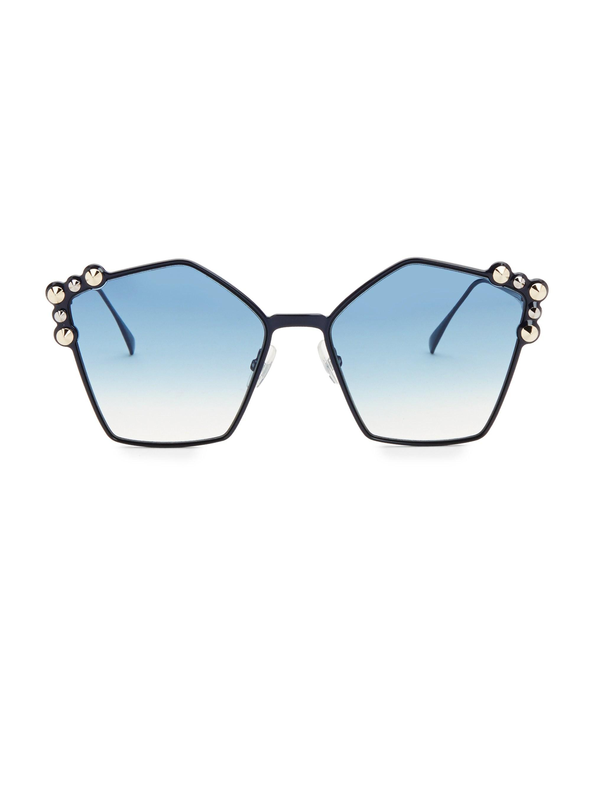 d50688f478 Lyst - Fendi 57mm Embellished Pentagon Sunglasses in Blue