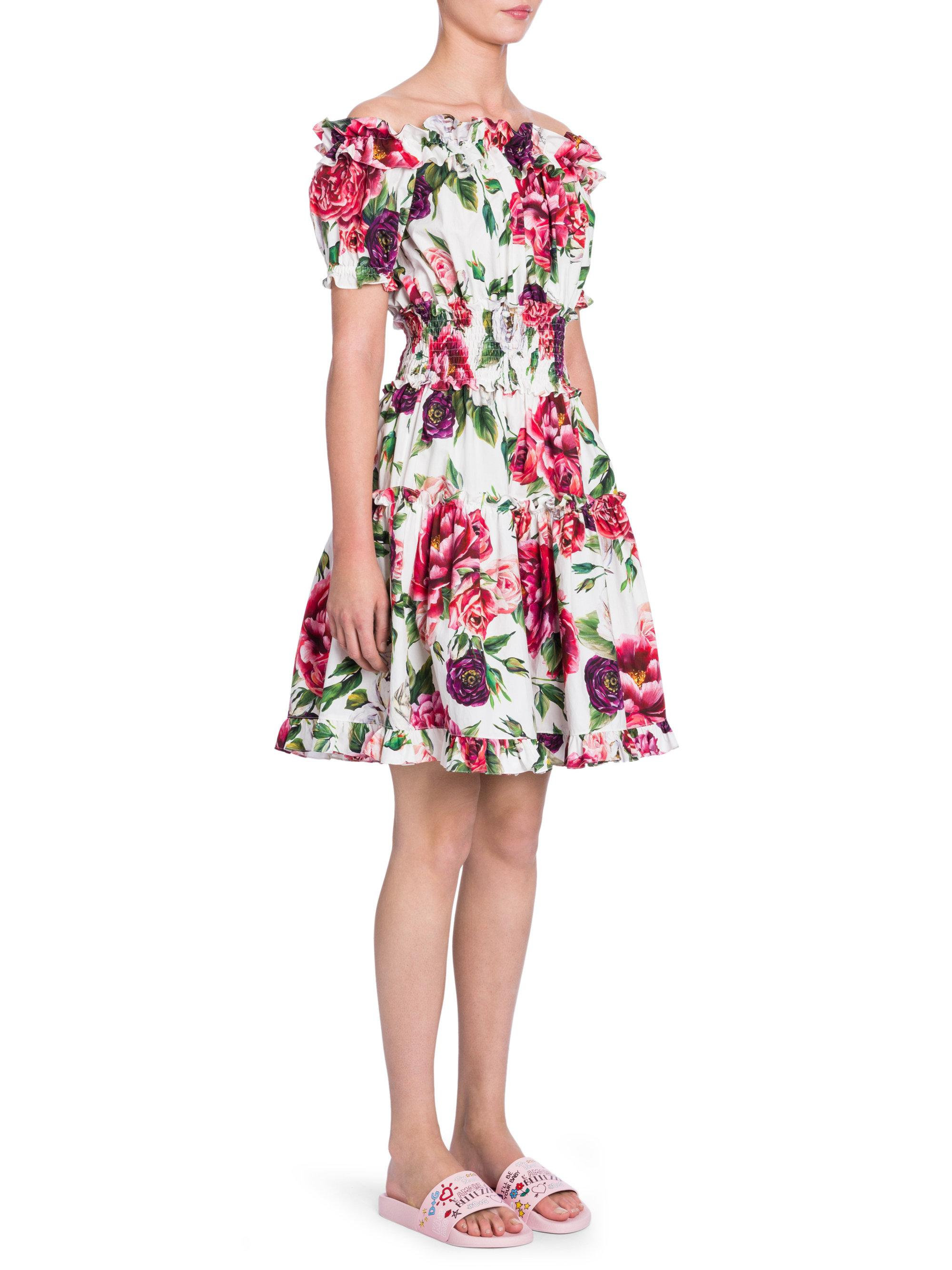 aed784be3dd74 Lyst - Dolce   Gabbana Off-the-shoulder Stampa Peoniedress