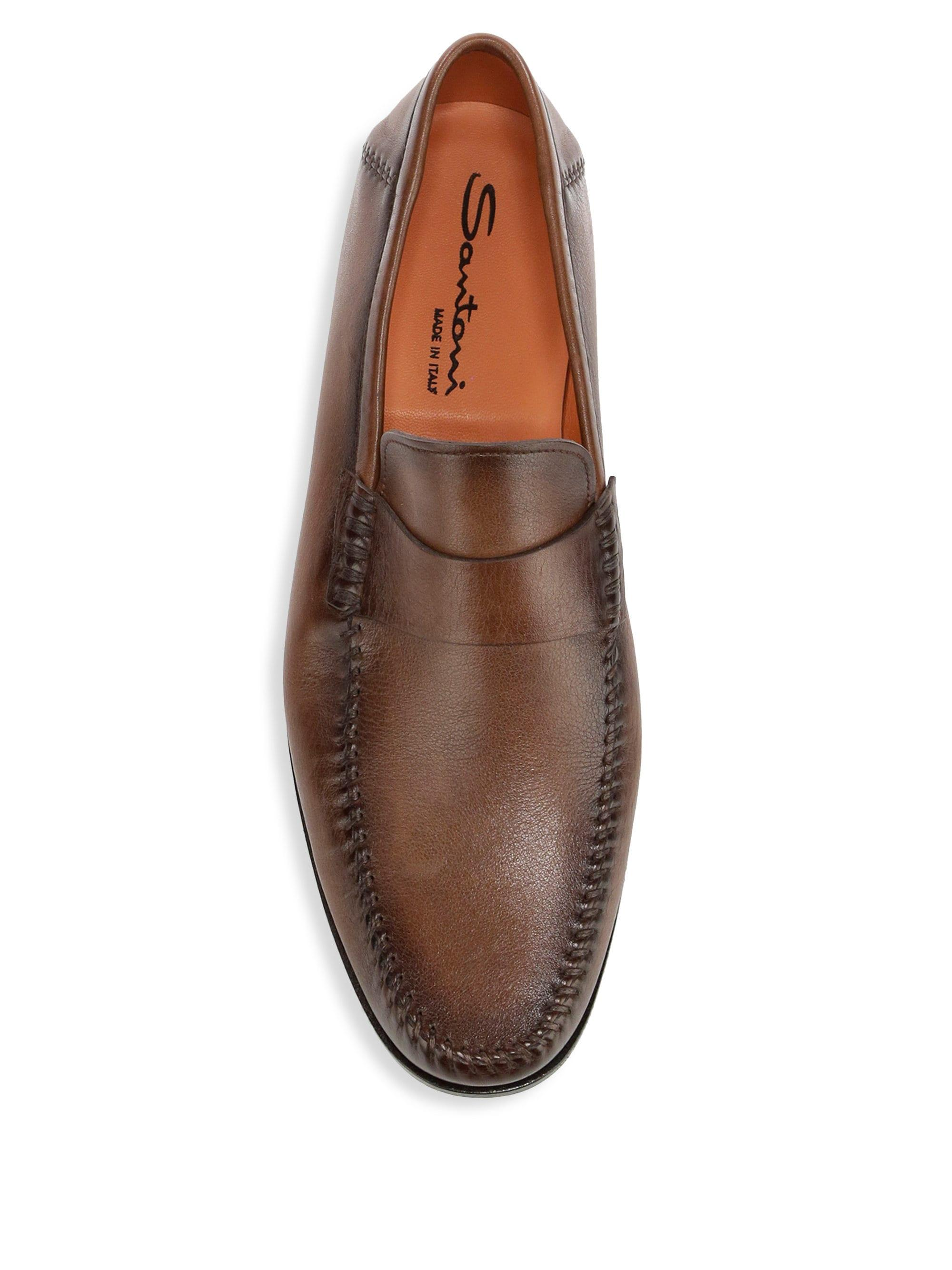 094fc90865 Lyst - Santoni Men's Paine Leather Loafers - Brown - Size 11.5 D in Brown  for Men