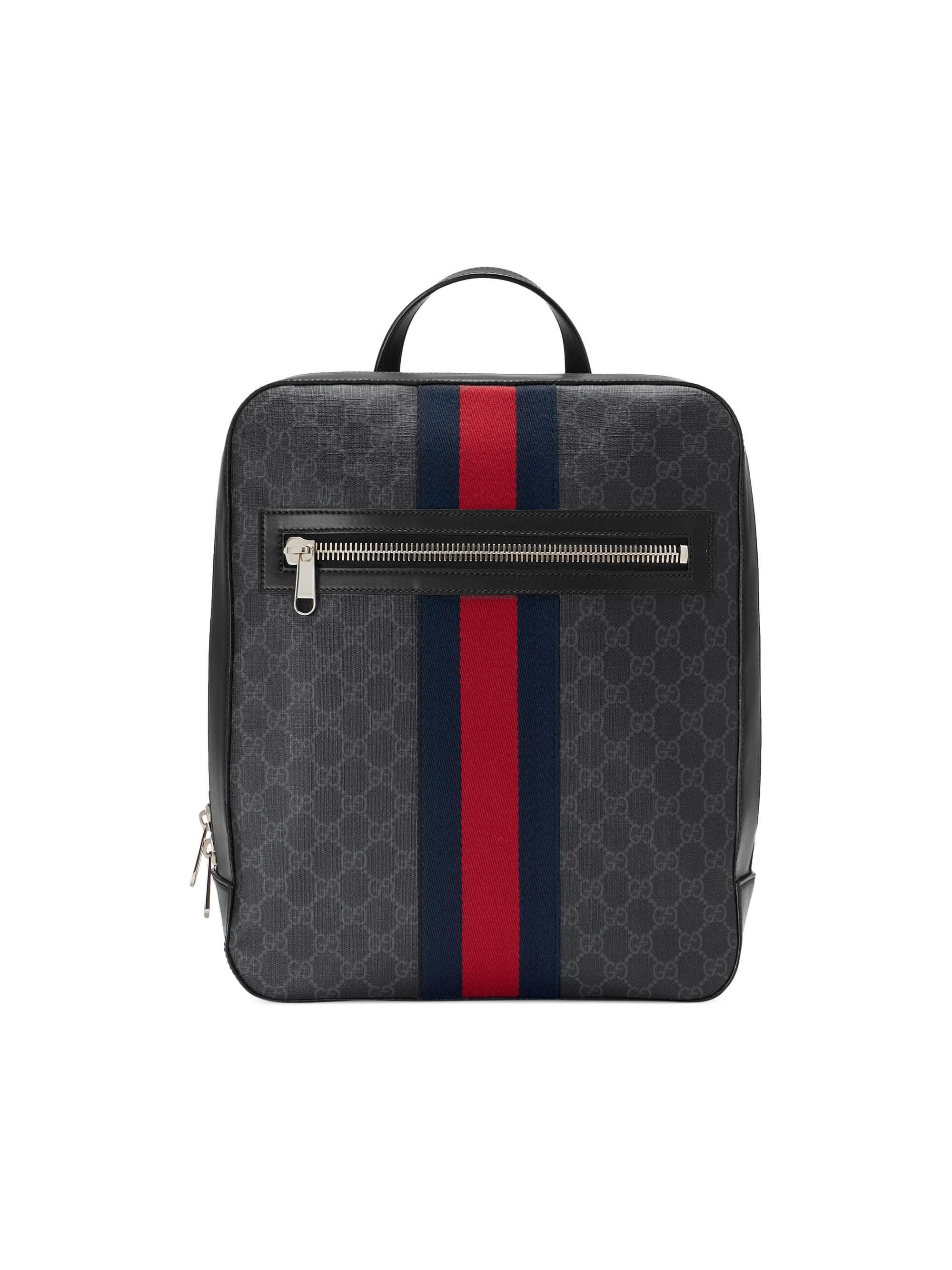 418645ad1611db Gucci Men's GG Supreme Web Backpack - Black Grey Blue Red in Black ...