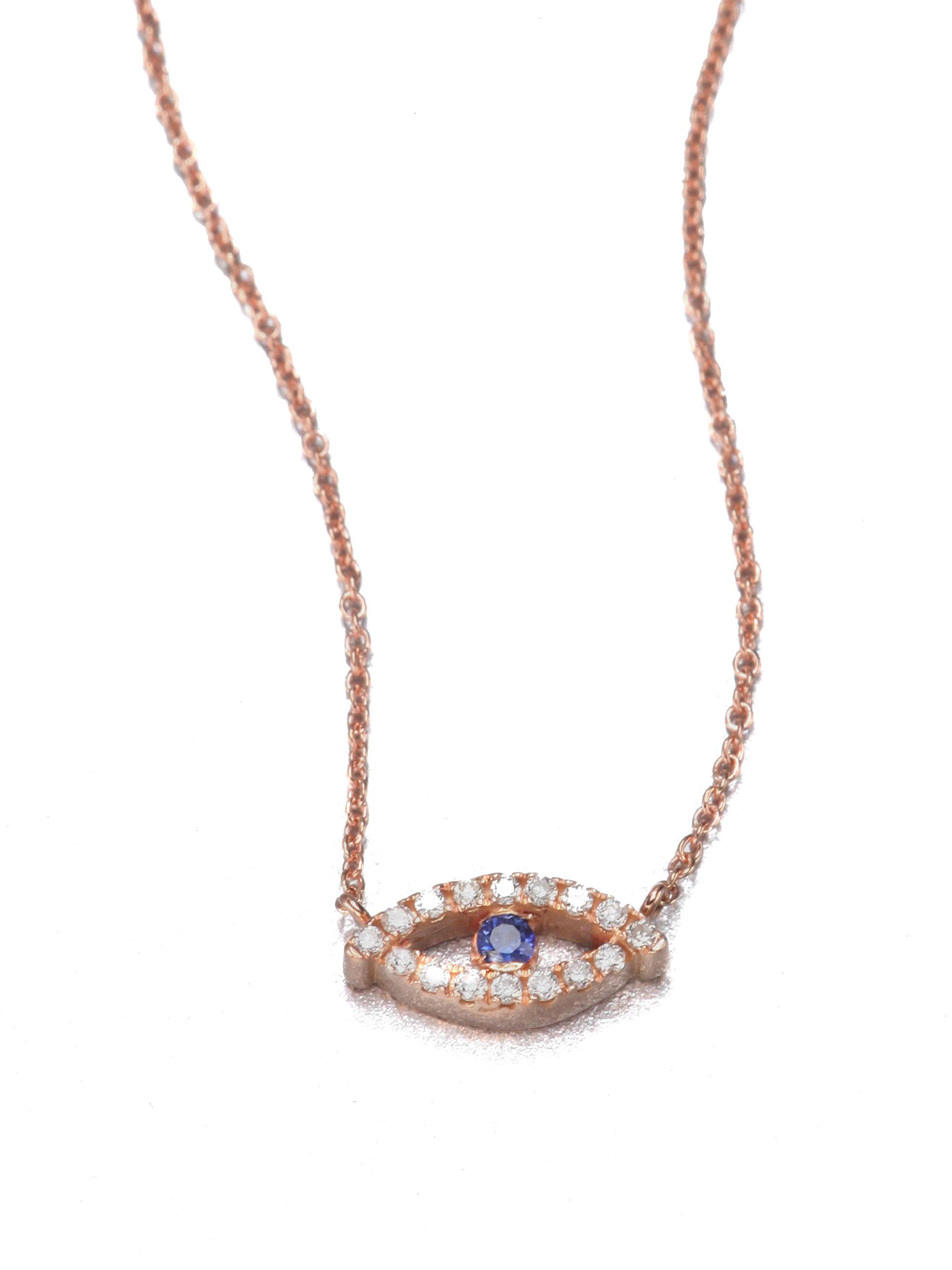 Diane Kordas Evil Eye Bolo Suede, 18-karat Rose Gold And Diamond Necklace