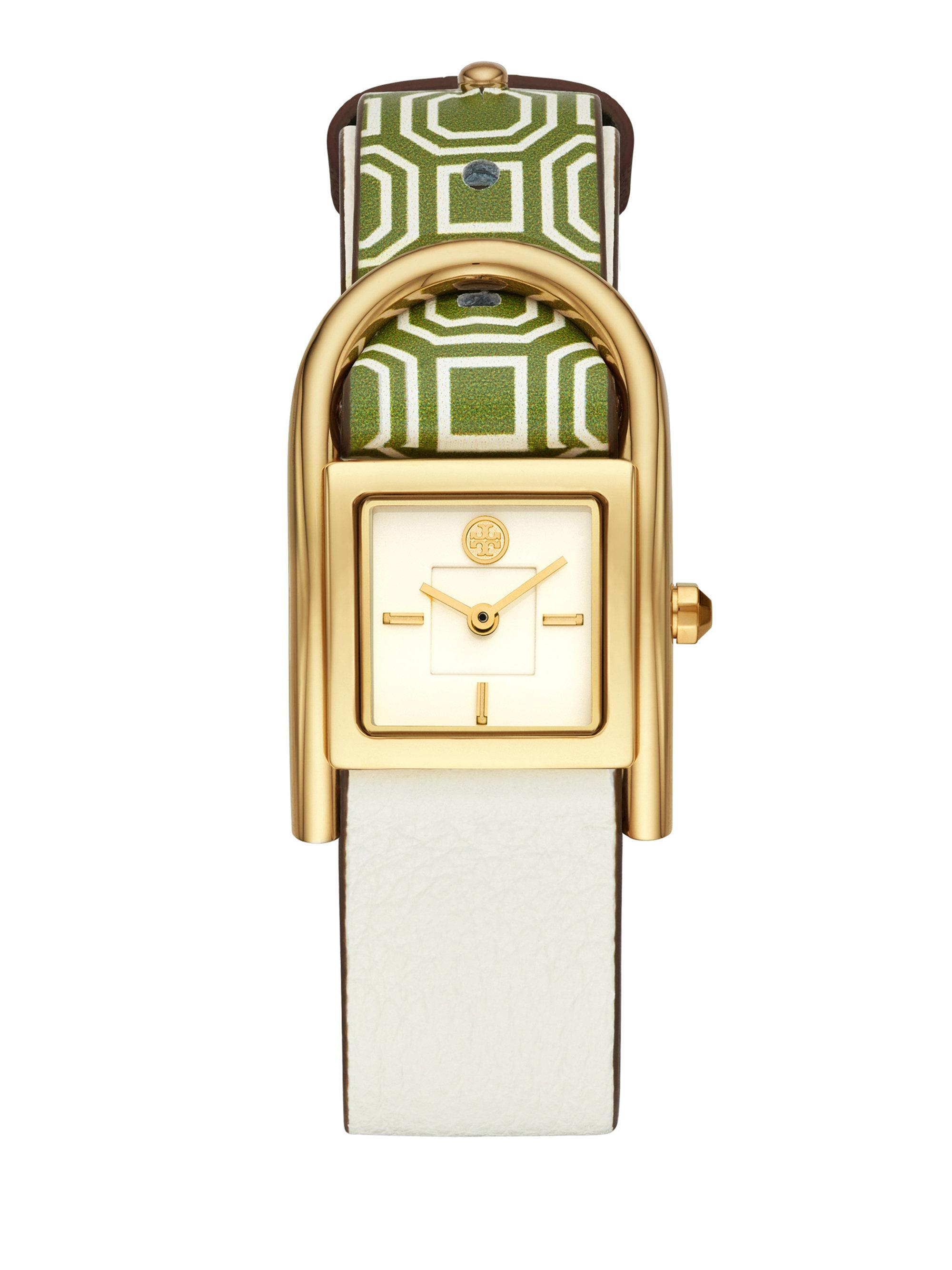 2943b687c3e Tory Burch Thayer Leather-strap Watch in Metallic - Lyst