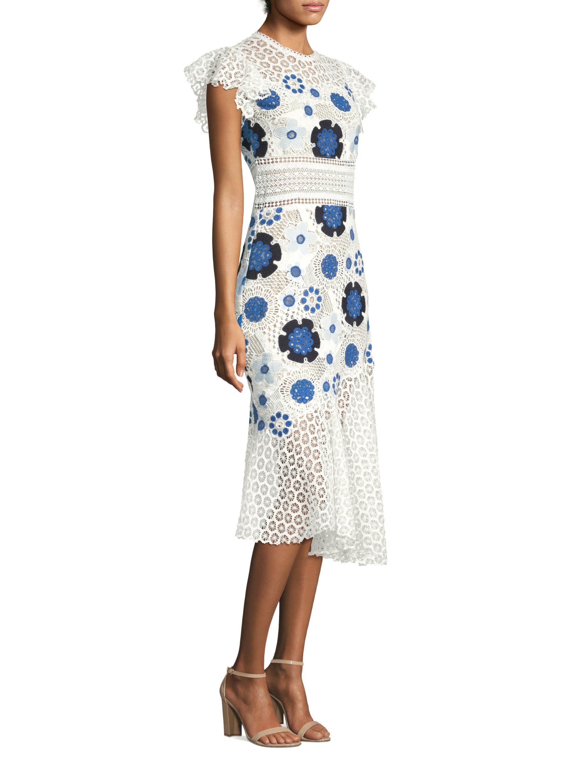 Cold-shoulder Floral-print Cotton-dobby Dress - Black Sea New York J5qcKkcPj