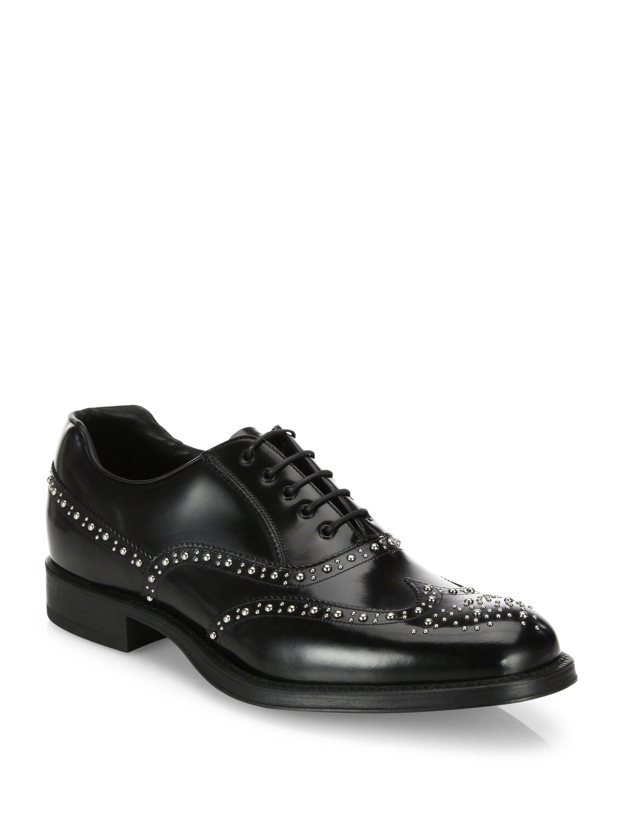 Prada. Men's Black Studded Leather Wingtip Oxfords