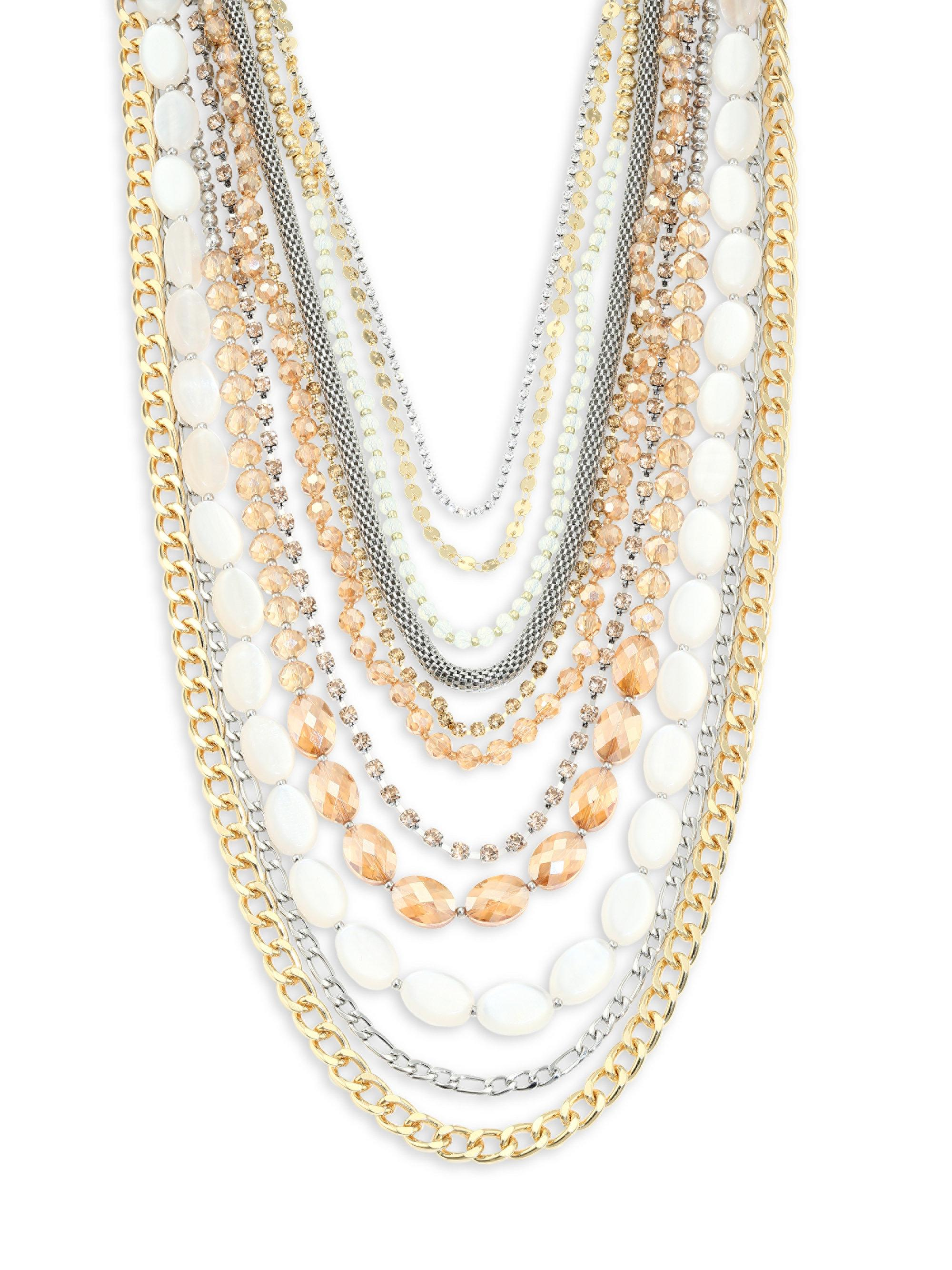 london long necklace multi card row buckley rose quartz