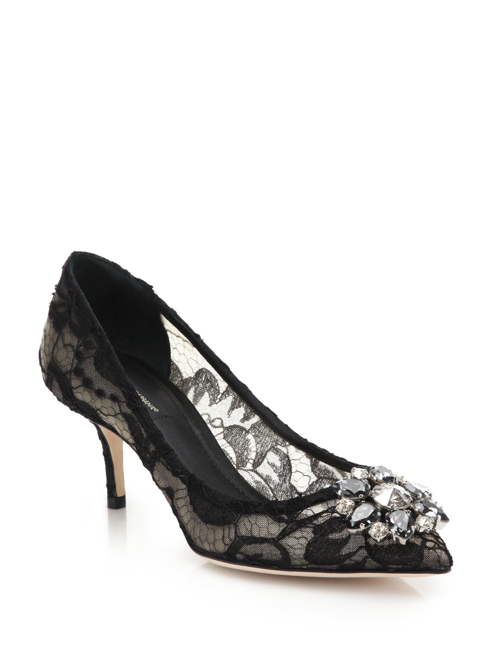 Dolce & Gabbana. Women's Black Embellished Lace Point Toe Pumps