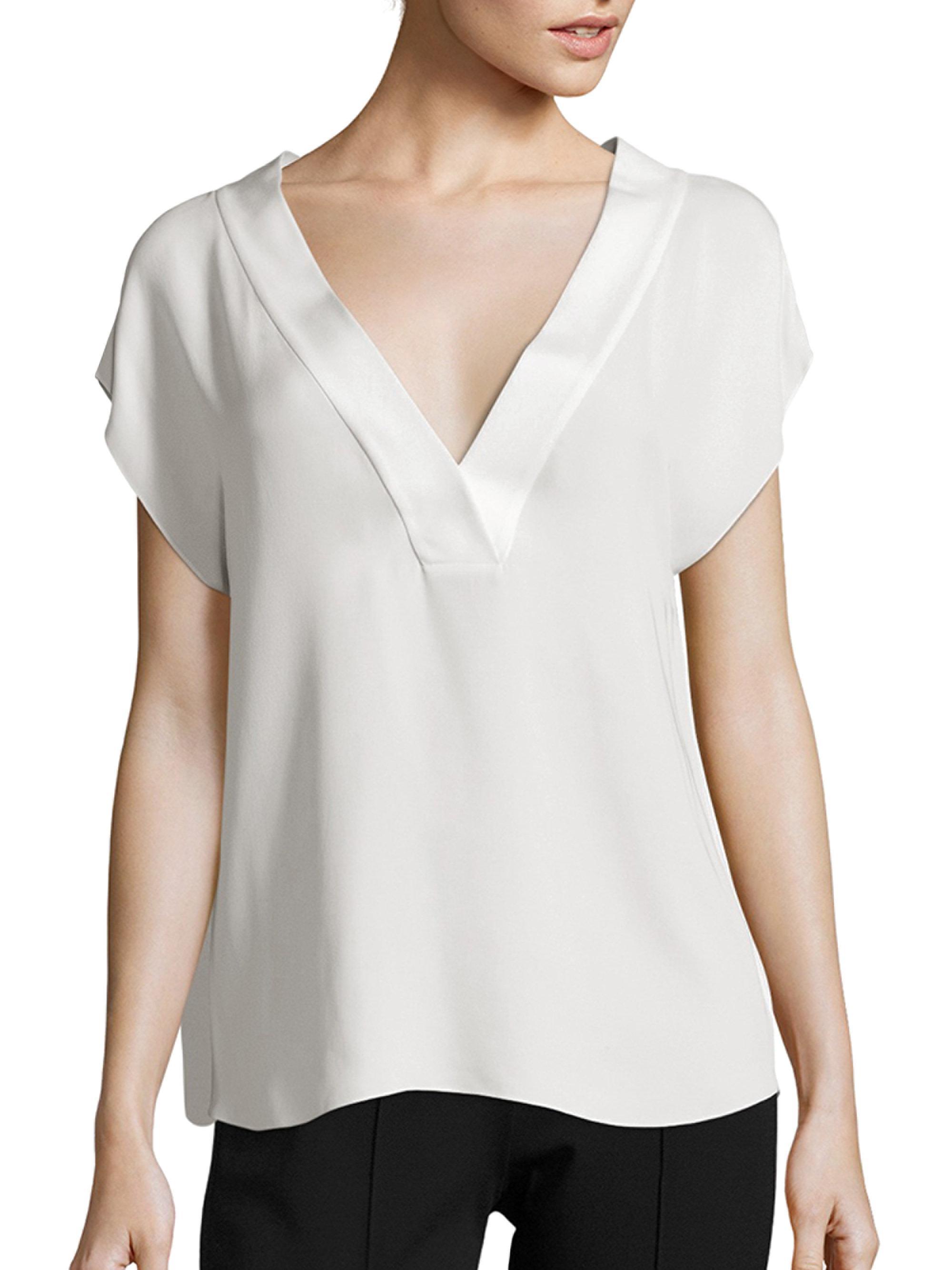 e174b4ba01b35 Lyst - Theory Orwin Silk Georgette Blouse in White