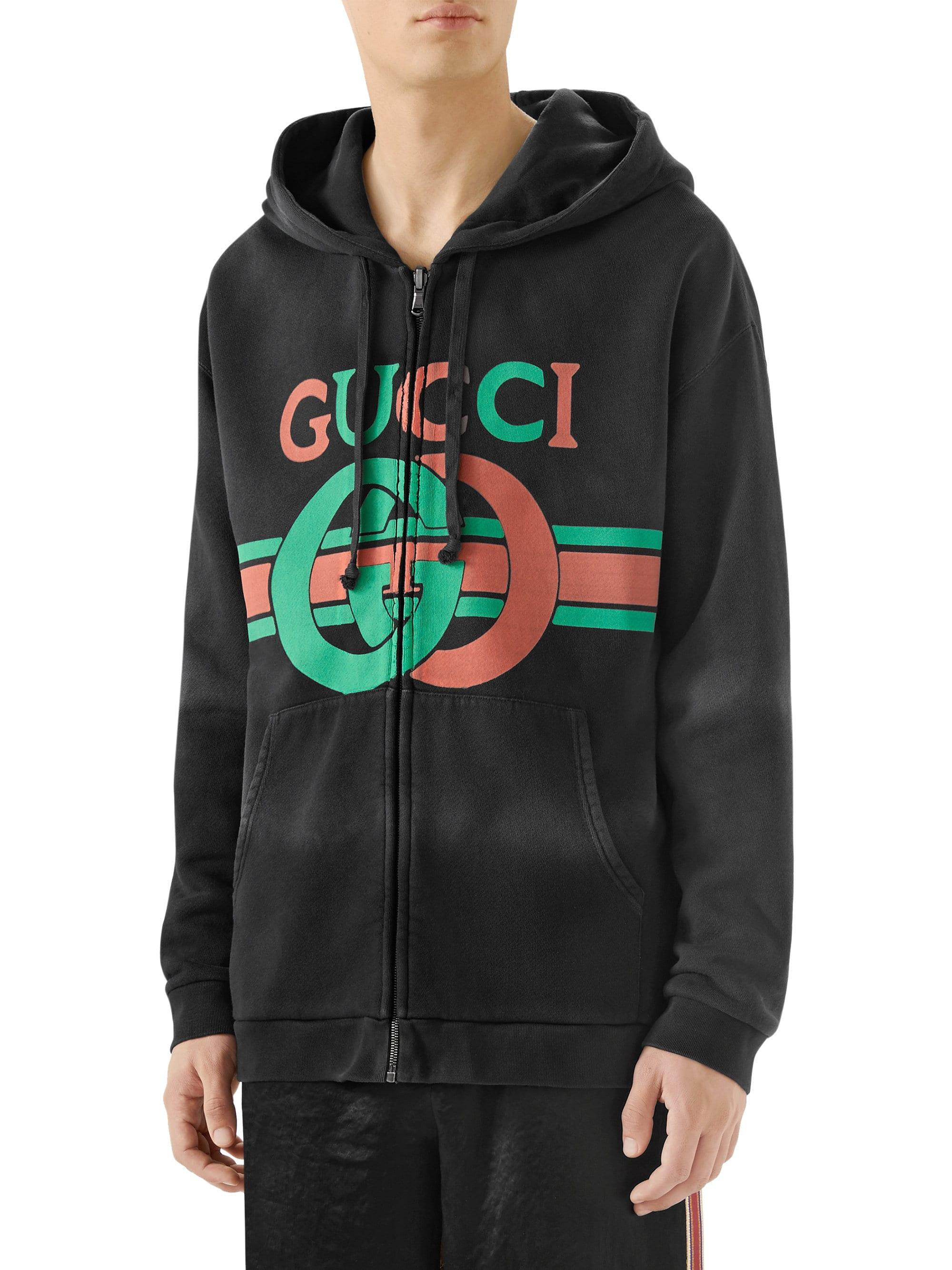 d2bb33885ba Gucci - Black Heavy Felted Cotton Jersey Hoodie for Men - Lyst. View  fullscreen