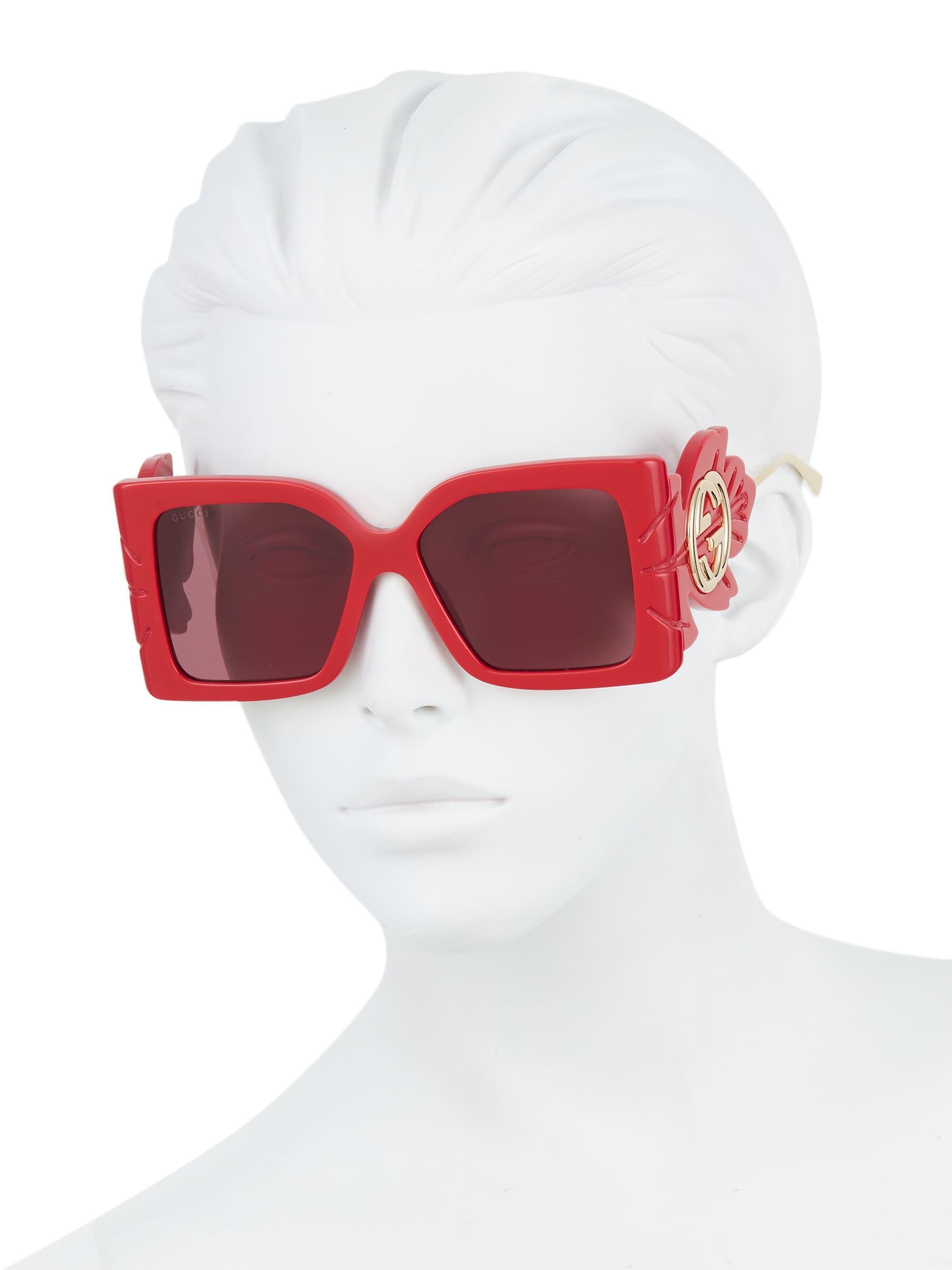 f9b3bdf9f23f6 Lyst - Gucci GG0535S-005 Square Wing Sunglasses in Red