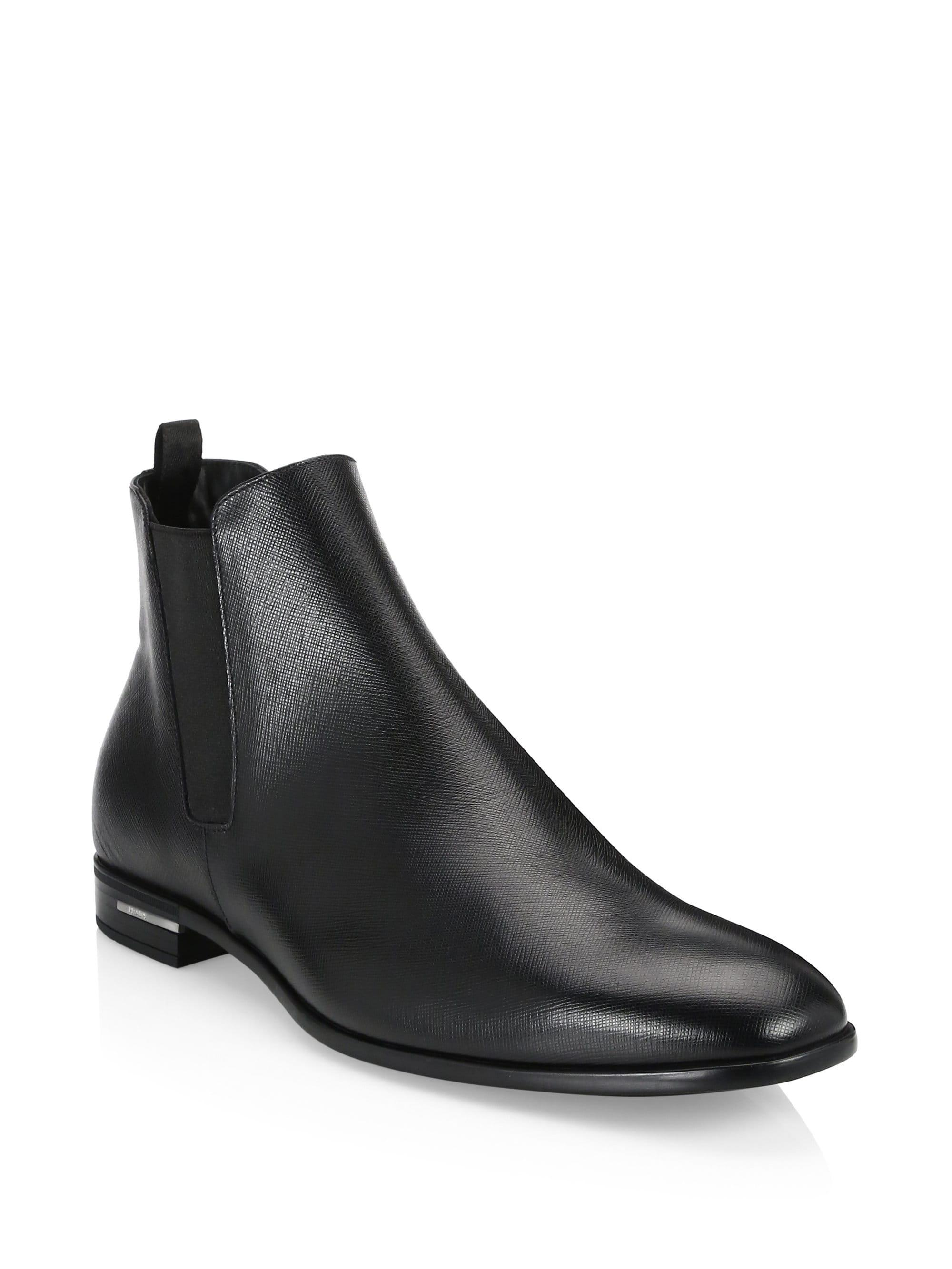 2e1244f5c375 Lyst - Prada Leather Chelsea Boots in Black for Men