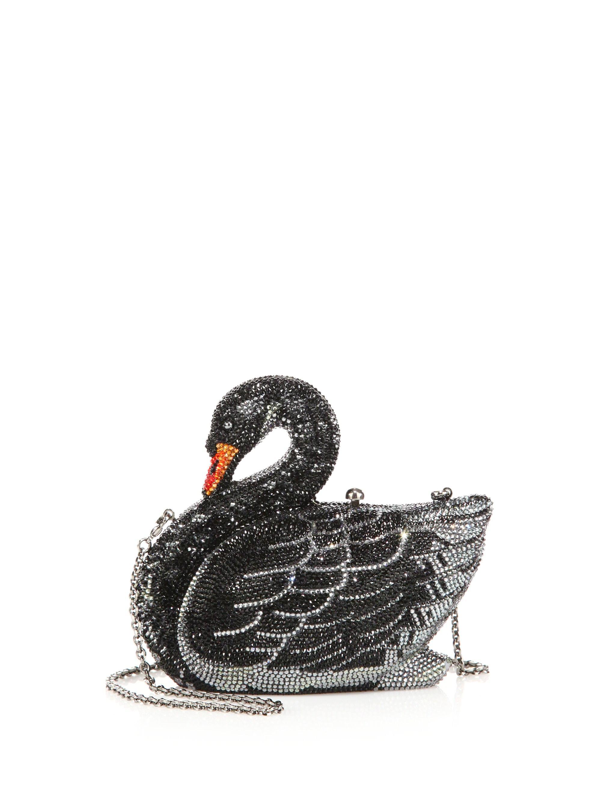 c673bdc1a Judith Leiber Swarovski Crystal Swan Clutch in Black - Lyst
