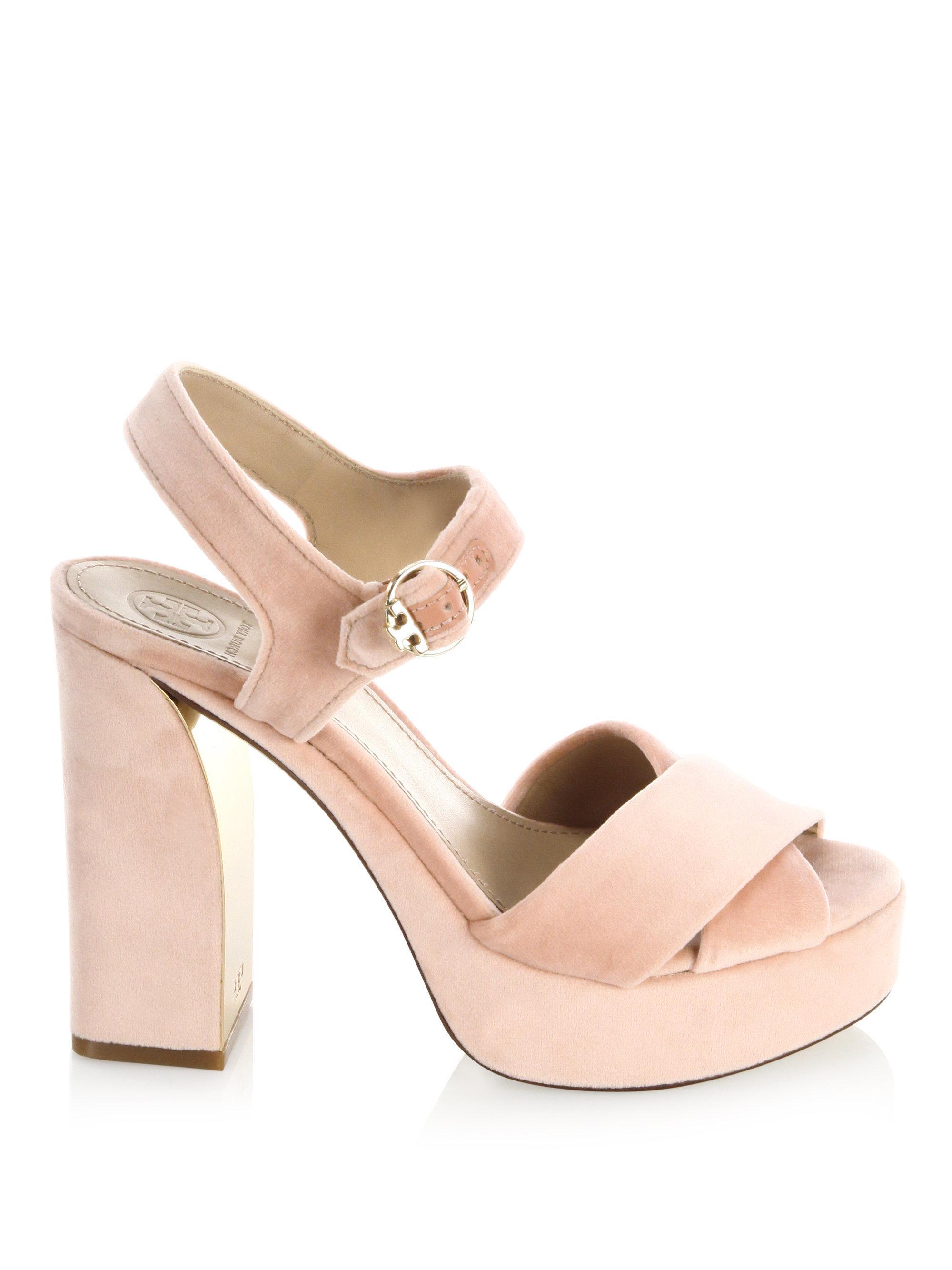 cc7b3376e60 Lyst - Tory Burch Loretta Velvet Platform Sandal in Pink