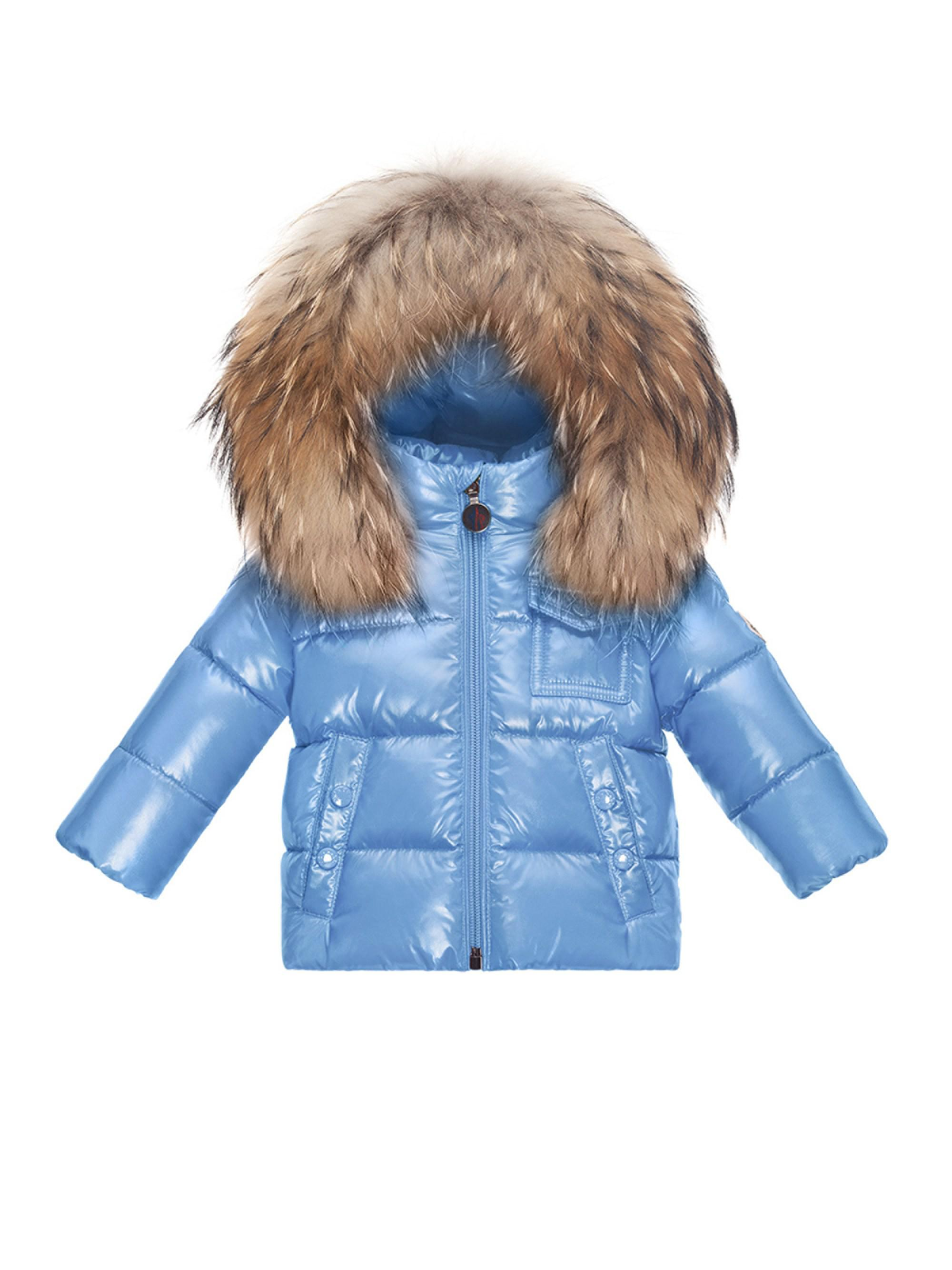 e858c62801f3 Moncler Baby Boy s Fur-trim Puffer Jacket in Blue - Lyst