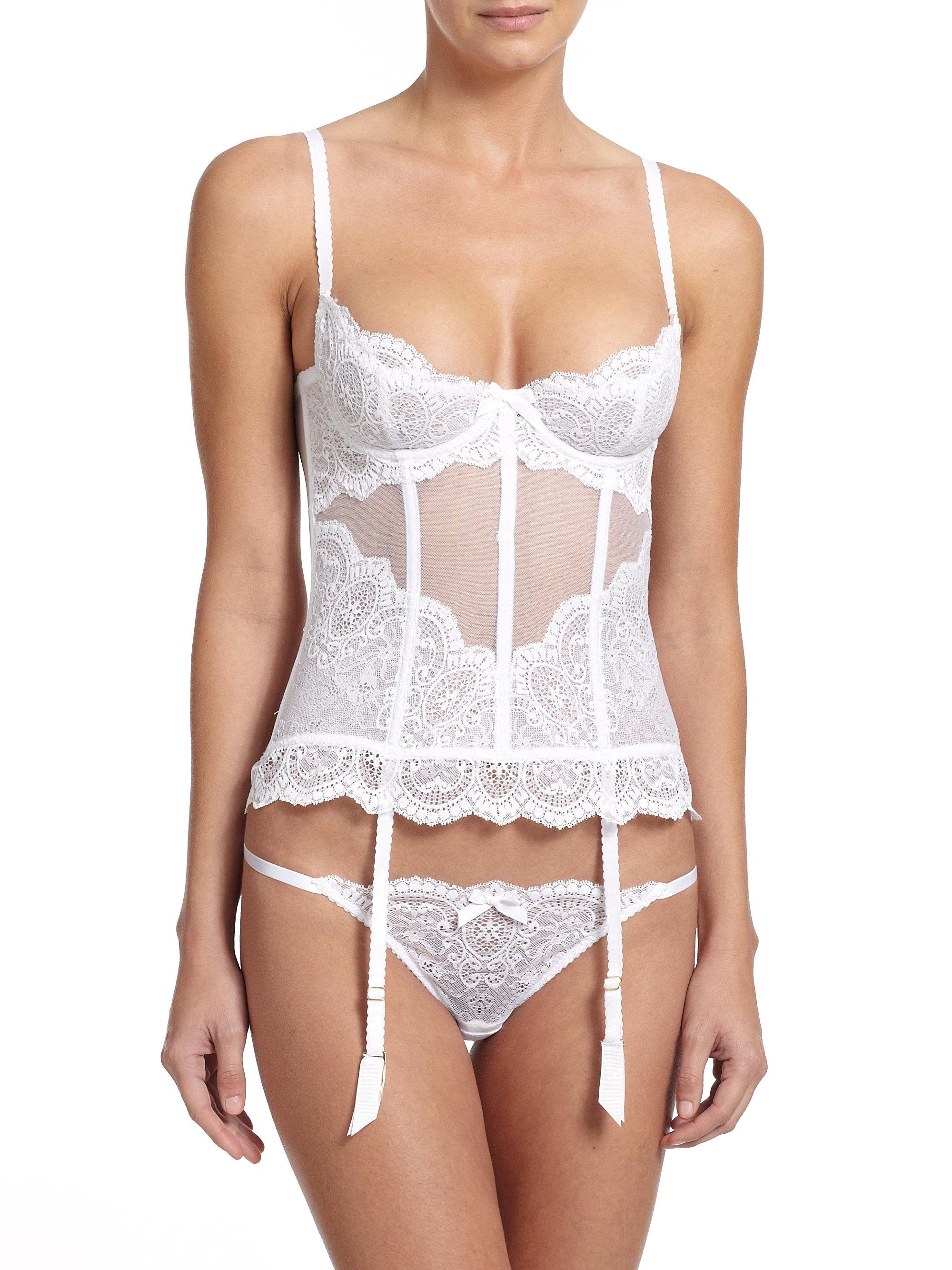 Lyst - L Agent by Agent Provocateur Vanesa Basque Slip in White 60108c128