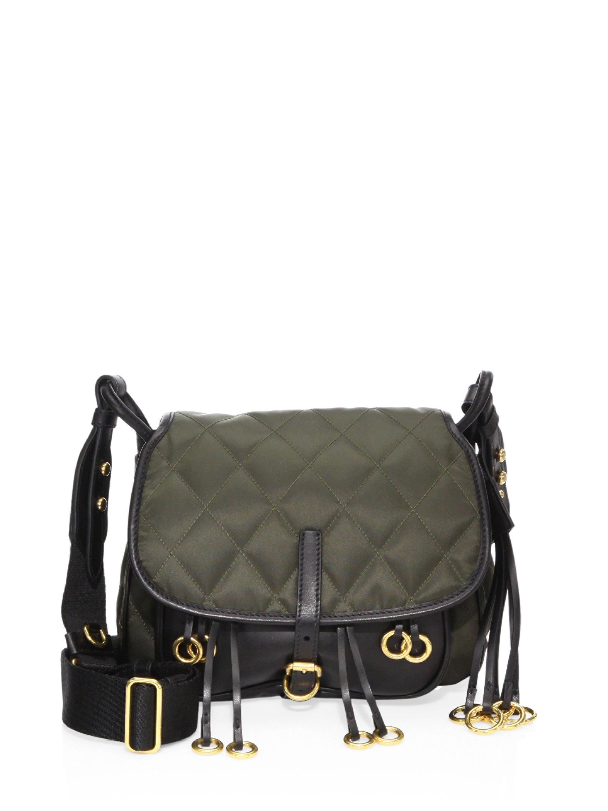 f3c446ea8cd8 ... new zealand lyst prada corsaire crepe and leather messenger bag in  green 029c6 21cc2 ...
