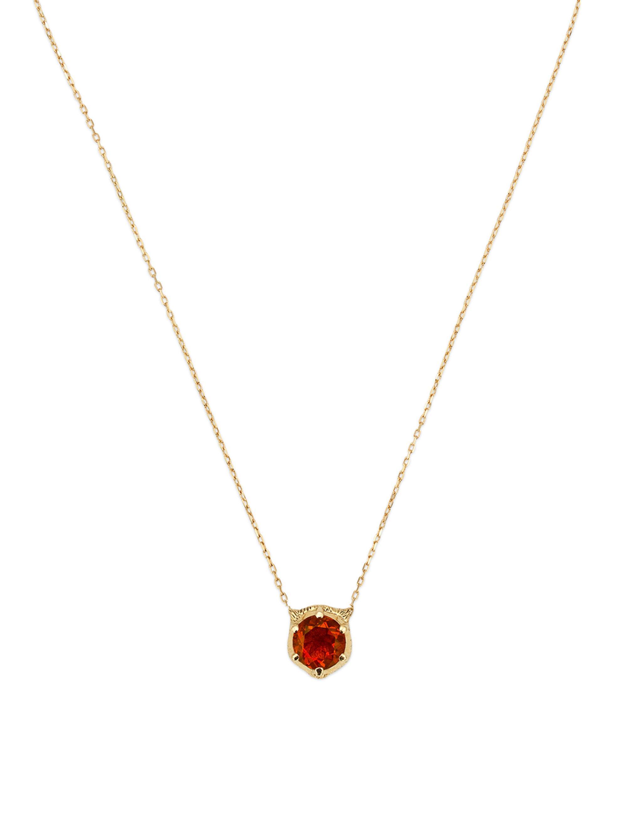 830508ed8 Lyst Gucci 18k Gold Red Opal Diamond Feline Head Pendant