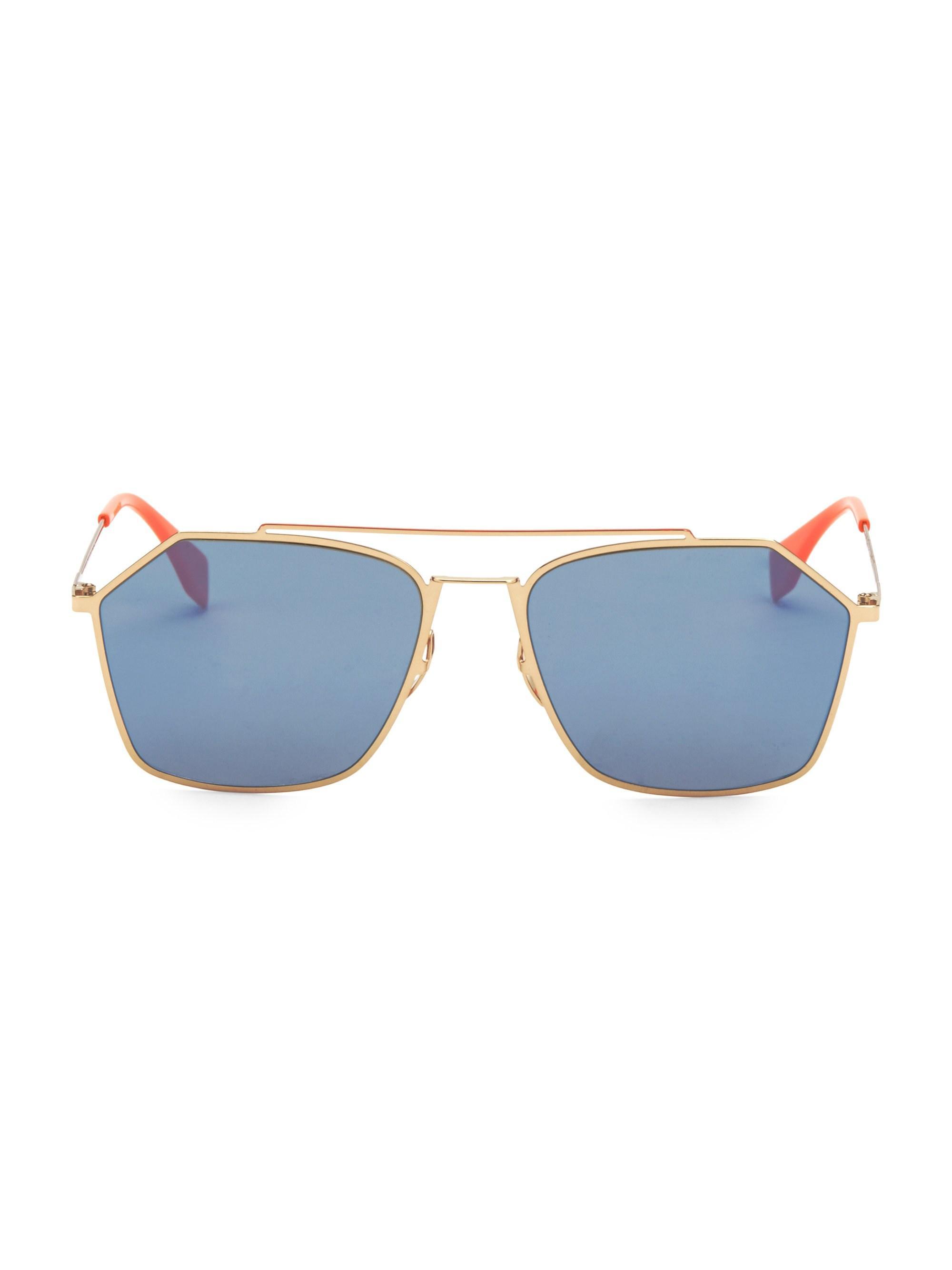 f5c679601c5 Fendi. Metallic Men s 56mm Hexagon Aviator Sunglasses - Grey.  470 From Saks  Fifth Avenue