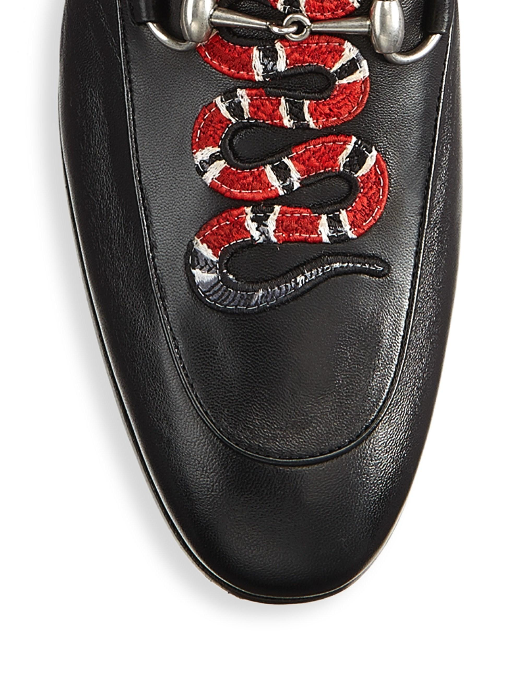 951111c593e Lyst - Gucci Leather Loafer With Kingsnake in Black for Men