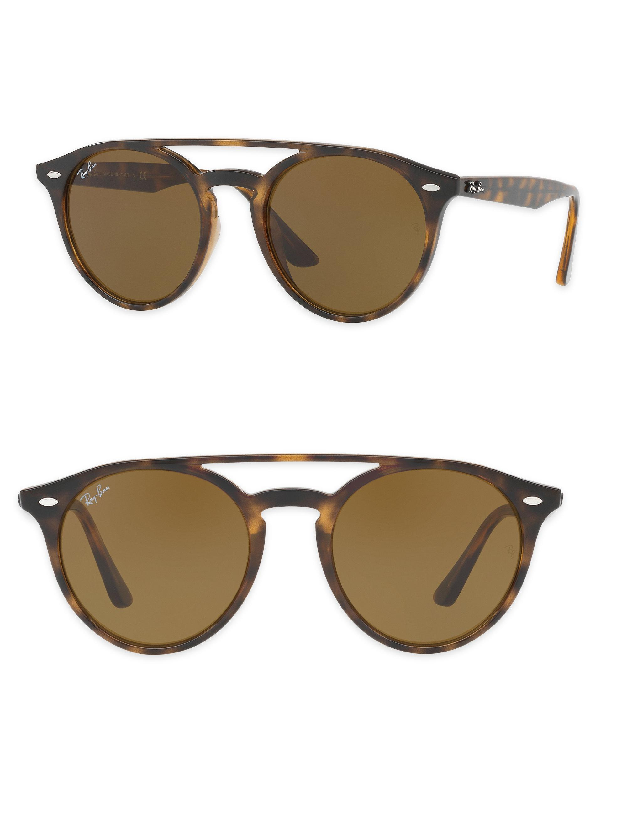 a16efec2a034 Ray-Ban 51mm Phantos Round Double-bridge Sunglasses in Brown - Lyst