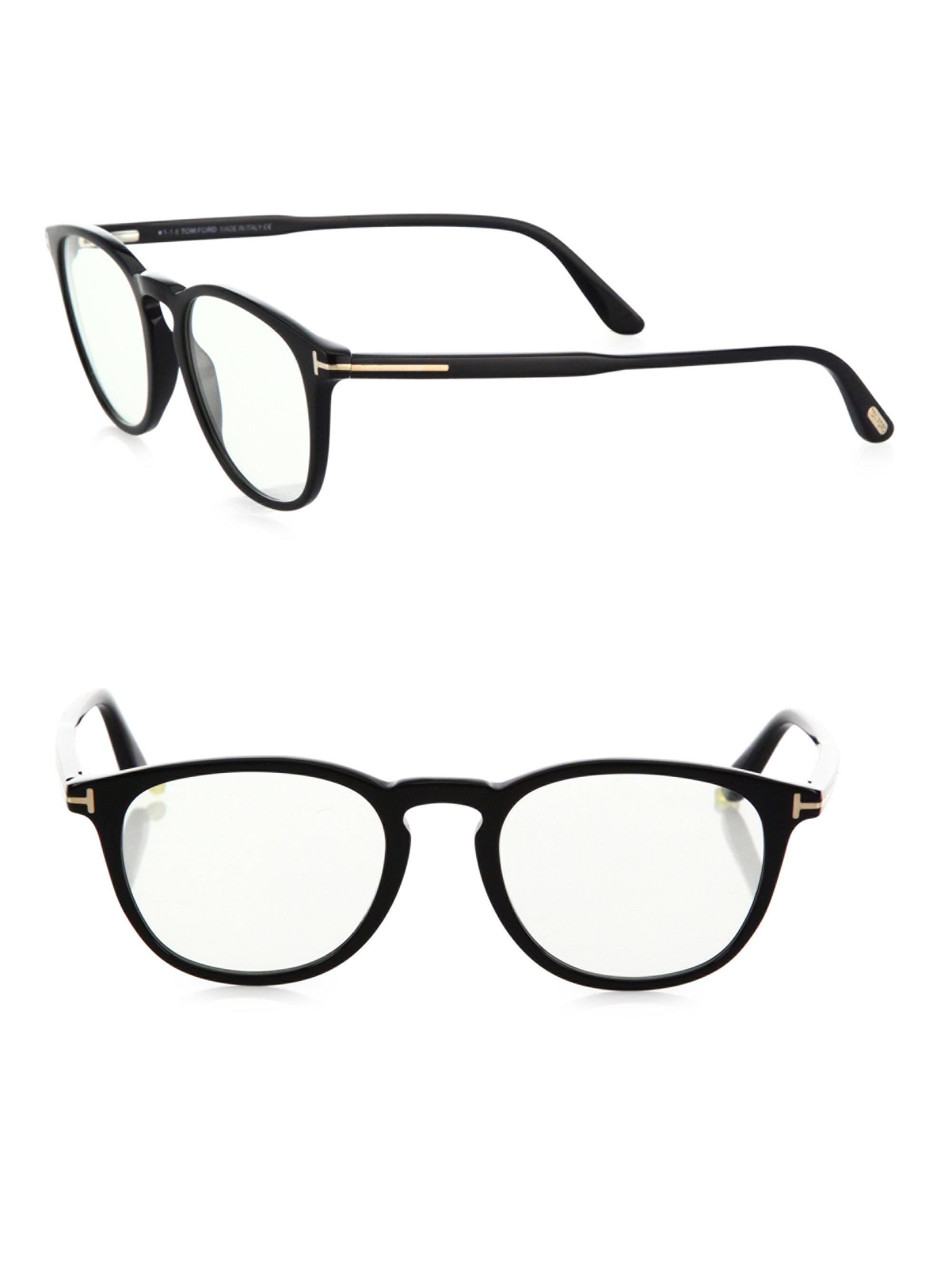 Lyst - Tom Ford 50mm Round Optical Glasses & Clip-on Sunglasses in Blue