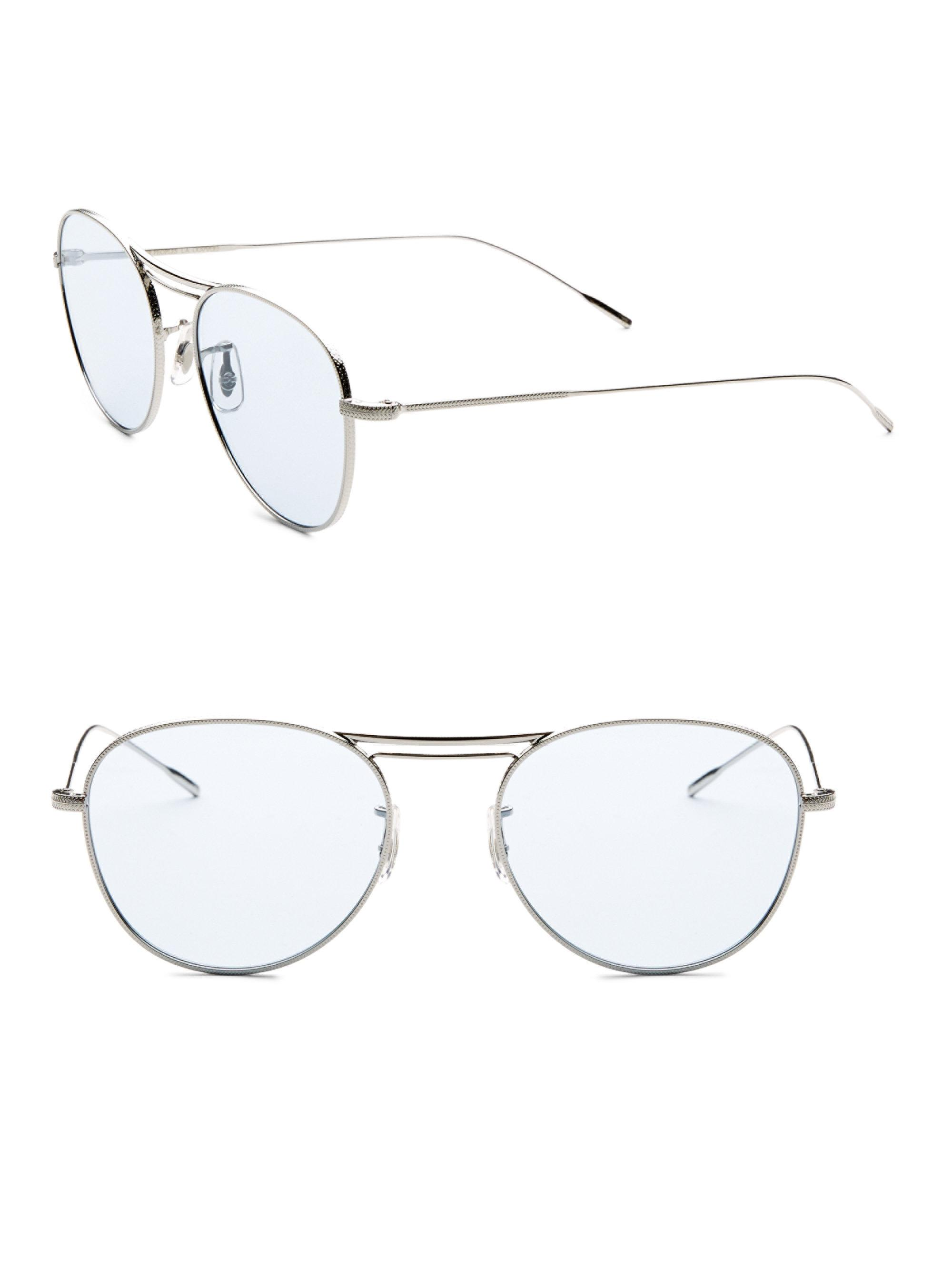 045b3b46e19 Lyst - Oliver Peoples Cade 52mm Tinted Aviator Sunglasses in Blue ...