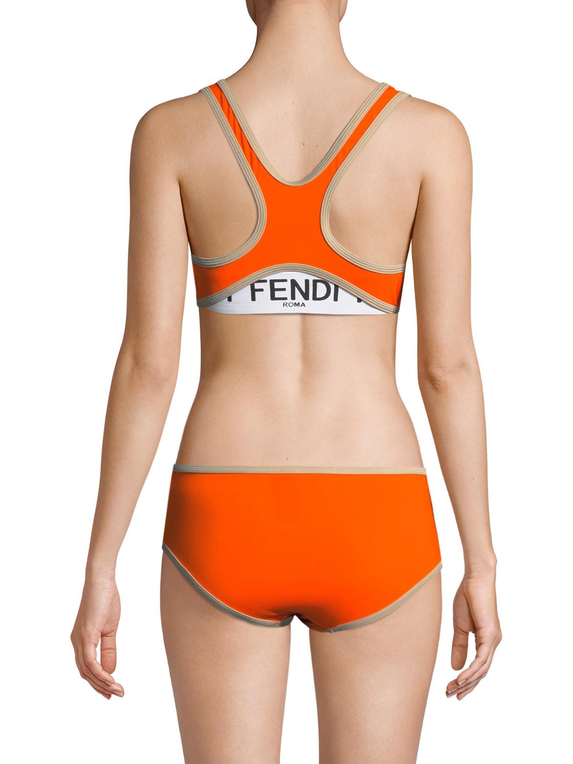 085aeeae6a170 Lyst - Fendi Two-piece Logo Bikini Set in Orange